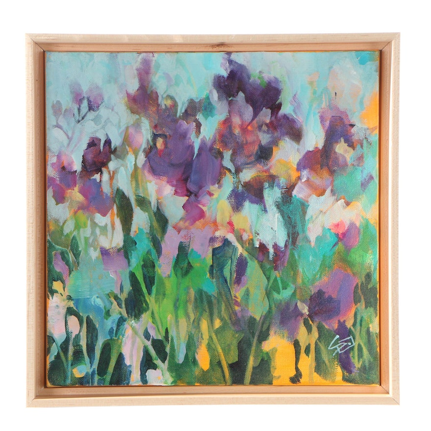 Sue Dion Purple Floral Acrylic Painting