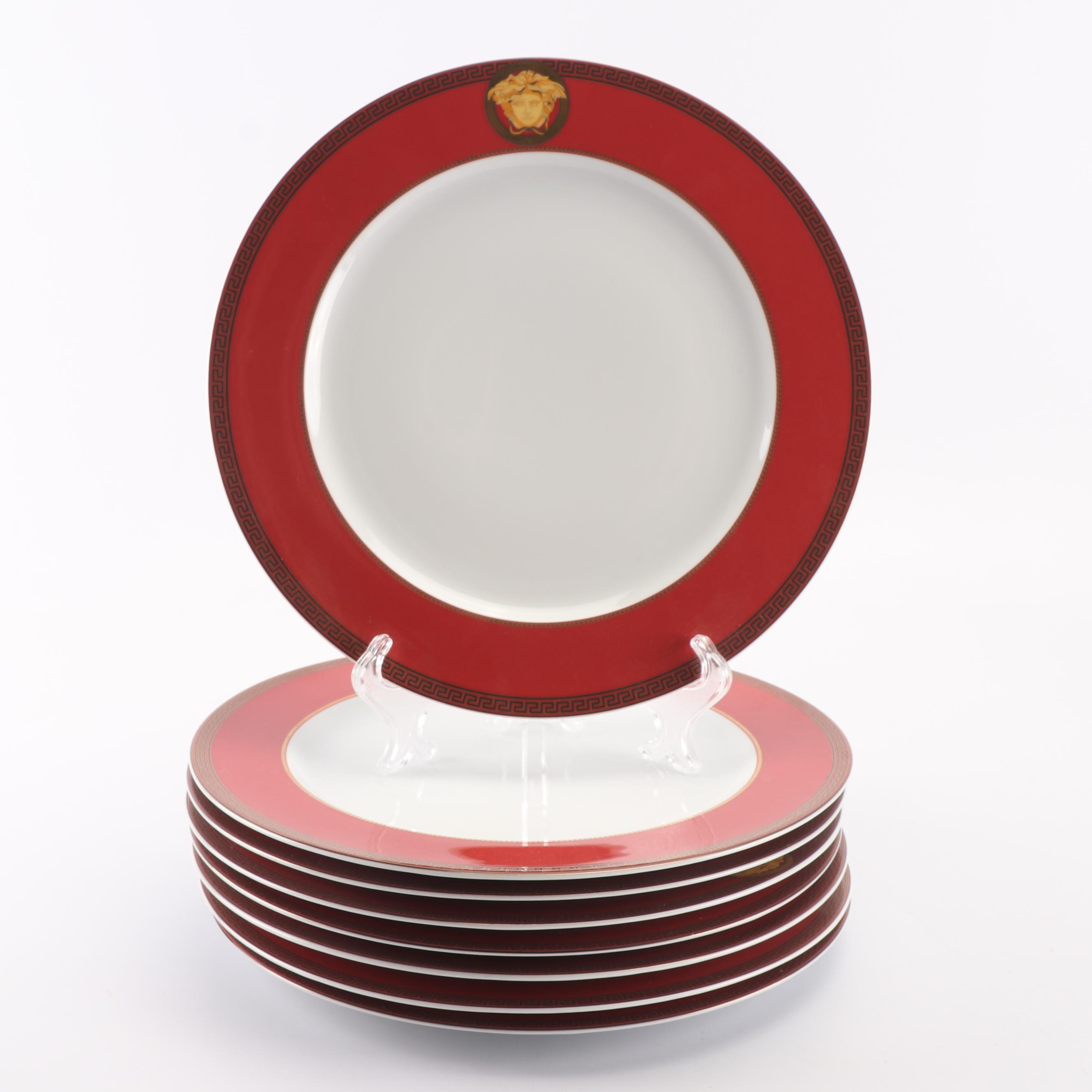 """Versace for Rosenthal """"Color Collection Red"""" Porcelain Service Plates"""