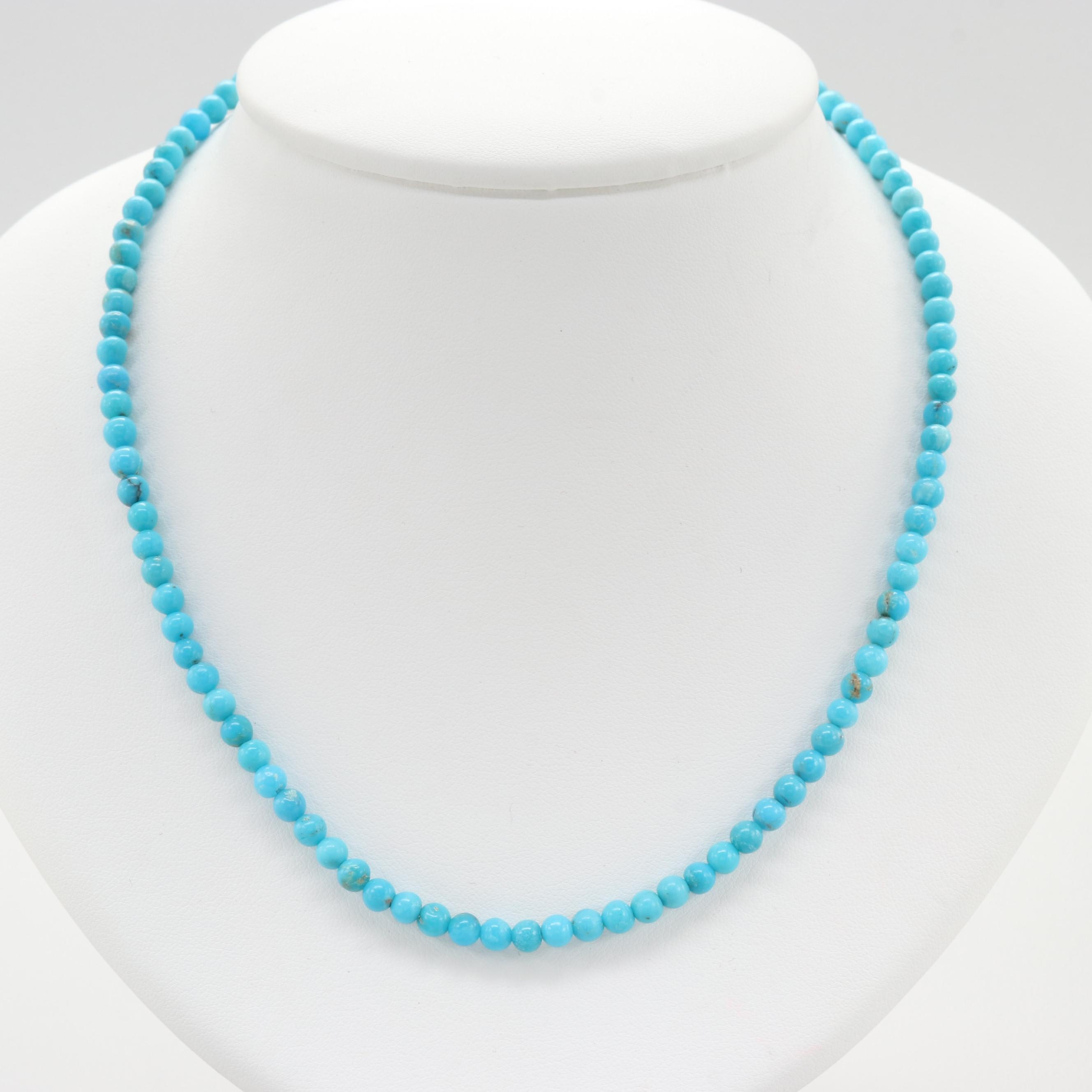 14K Yellow Gold Clasped Dyed Turquoise Necklace