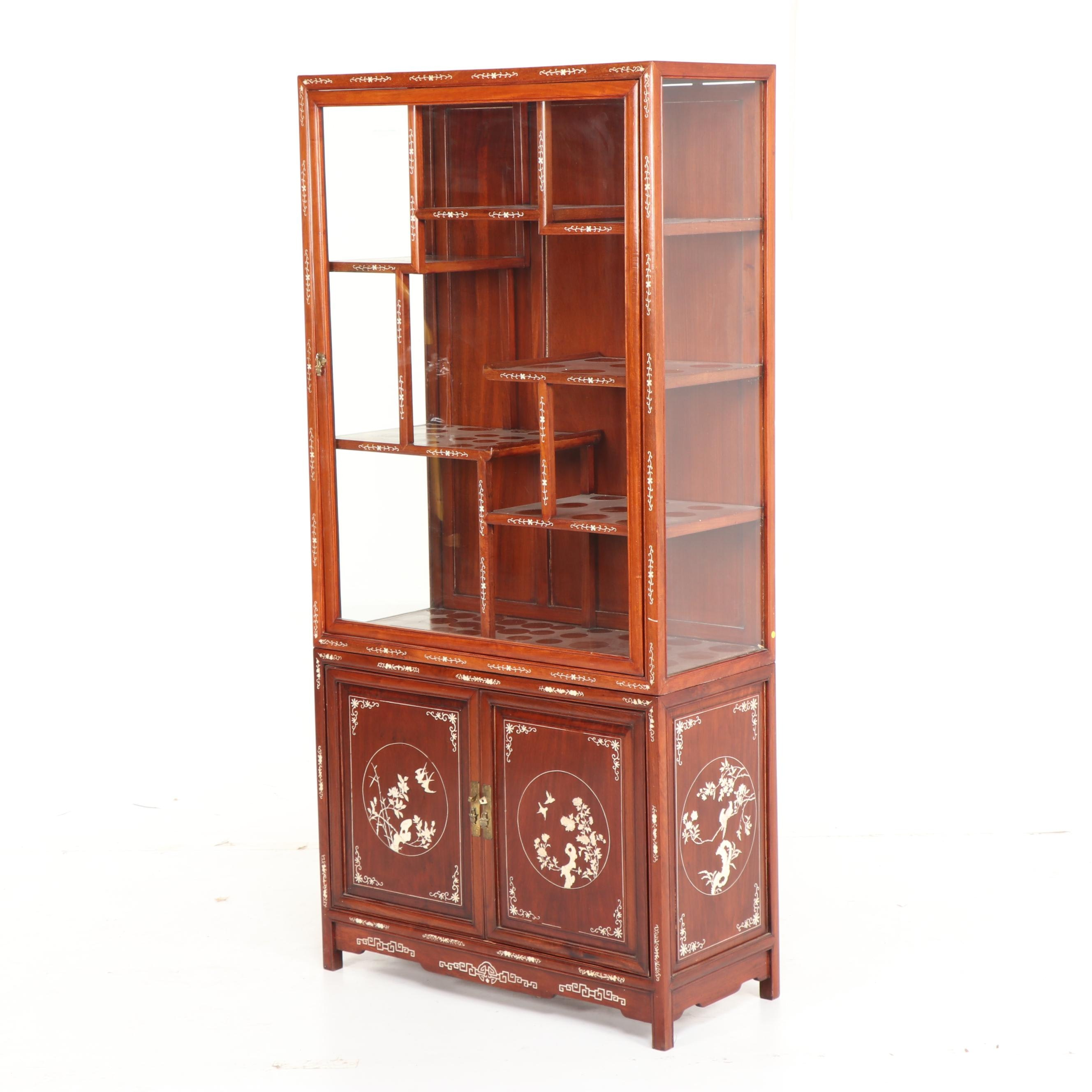 Chinese Exotic Hardwood Display Cabinet with Bone Inlay, Mid-20th Century