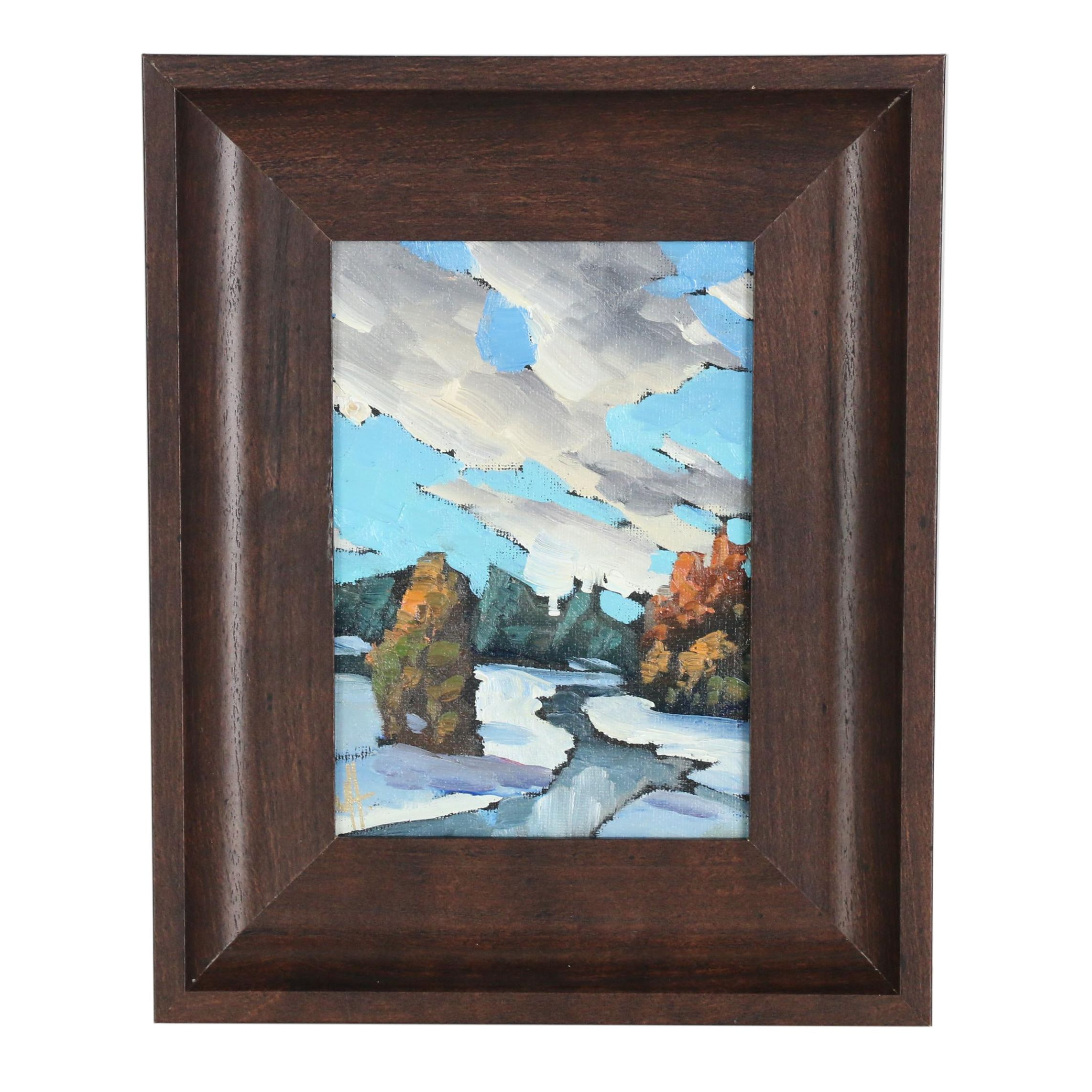 William Hawkins Wintry Landscape Oil Painting