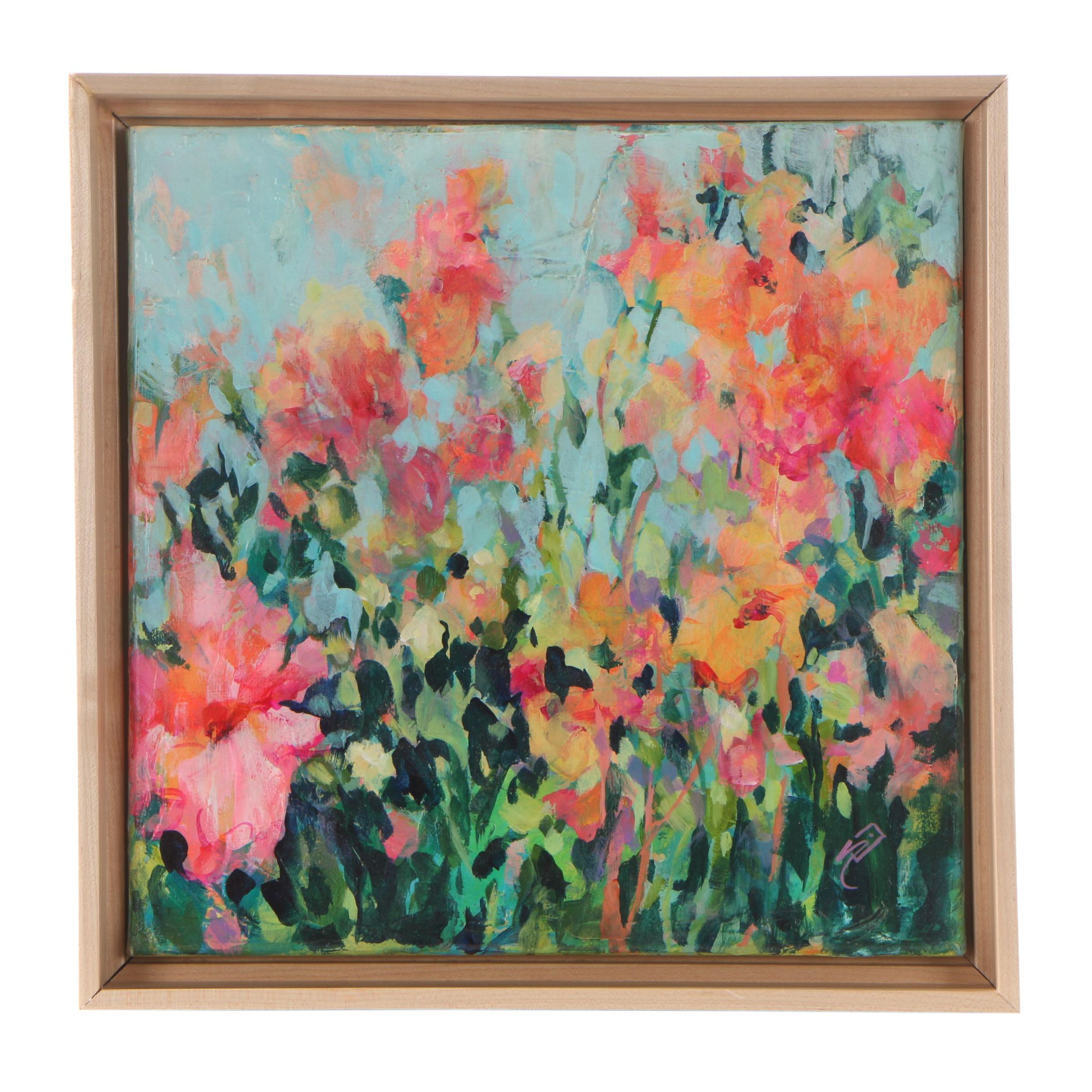 Sue Dion Pink Floral Acrylic Painting
