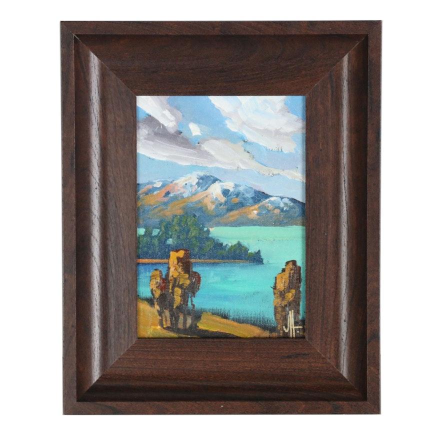 William Hawkins Scenic Mountain Landscape Oil Painting
