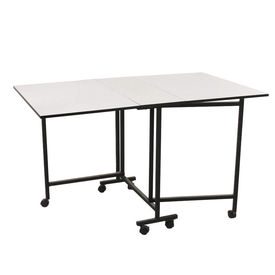 Drop Leaf Work Table on Locking Casters, 21st Century