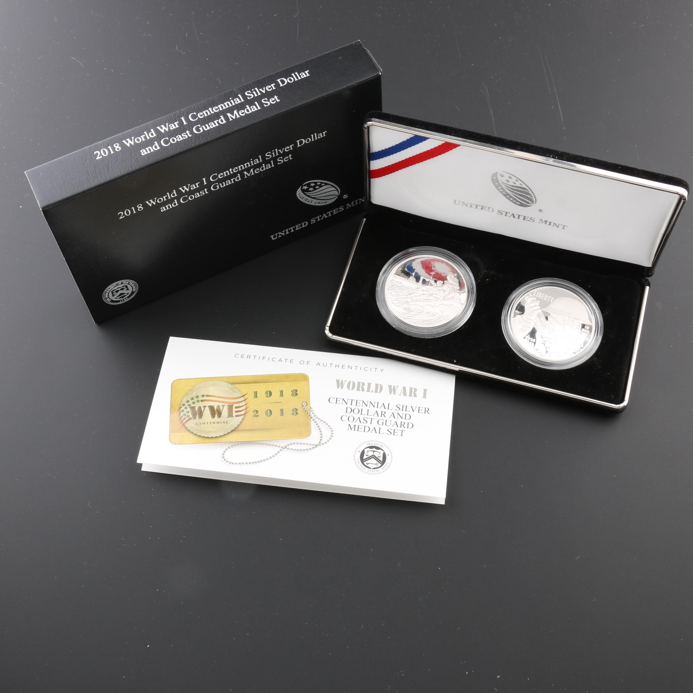 2018 World War I Centennial Silver Dollar and Coast Guard Medal Proof Set