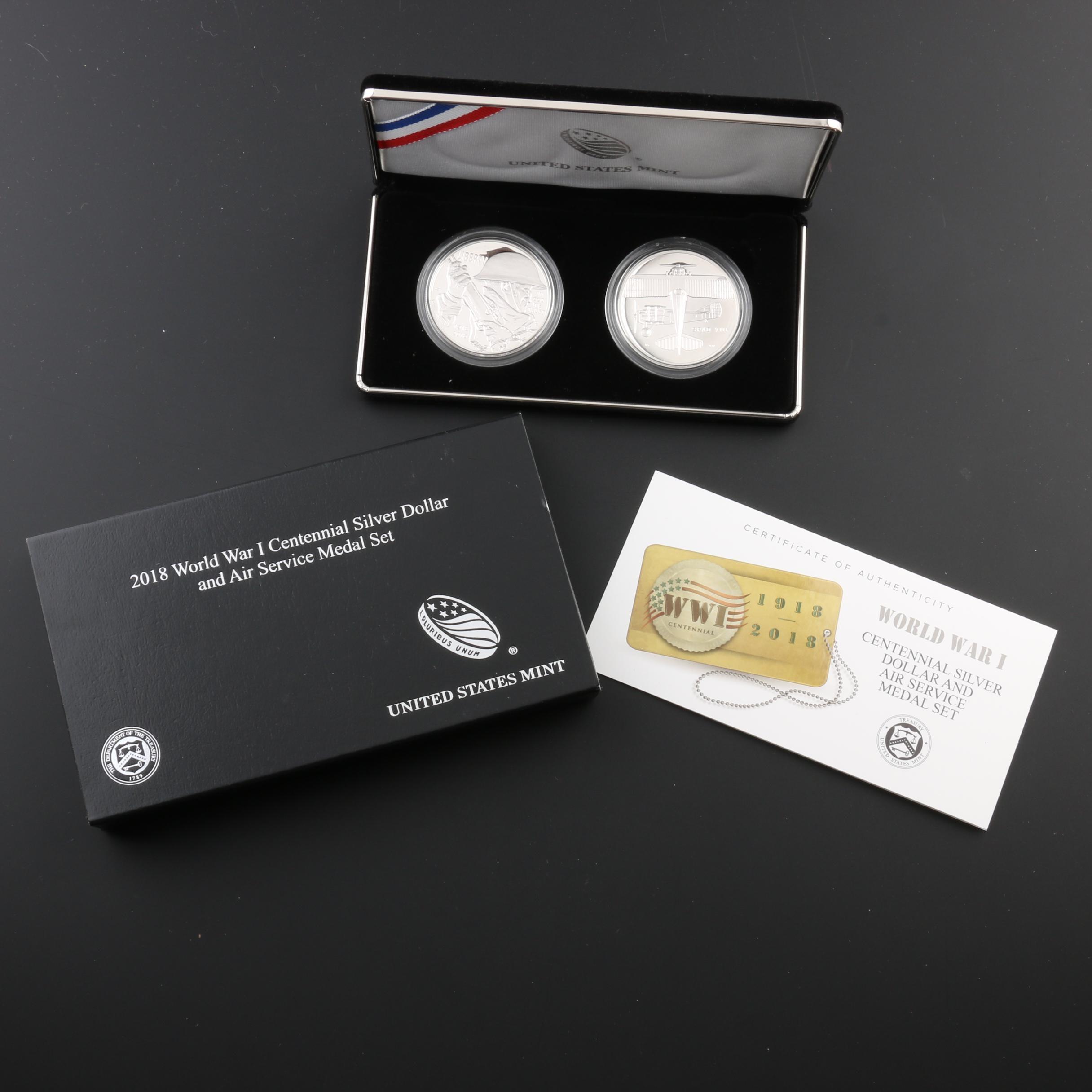 2018 World War I Centennial Silver Dollar and Air Service Medal Proof Set