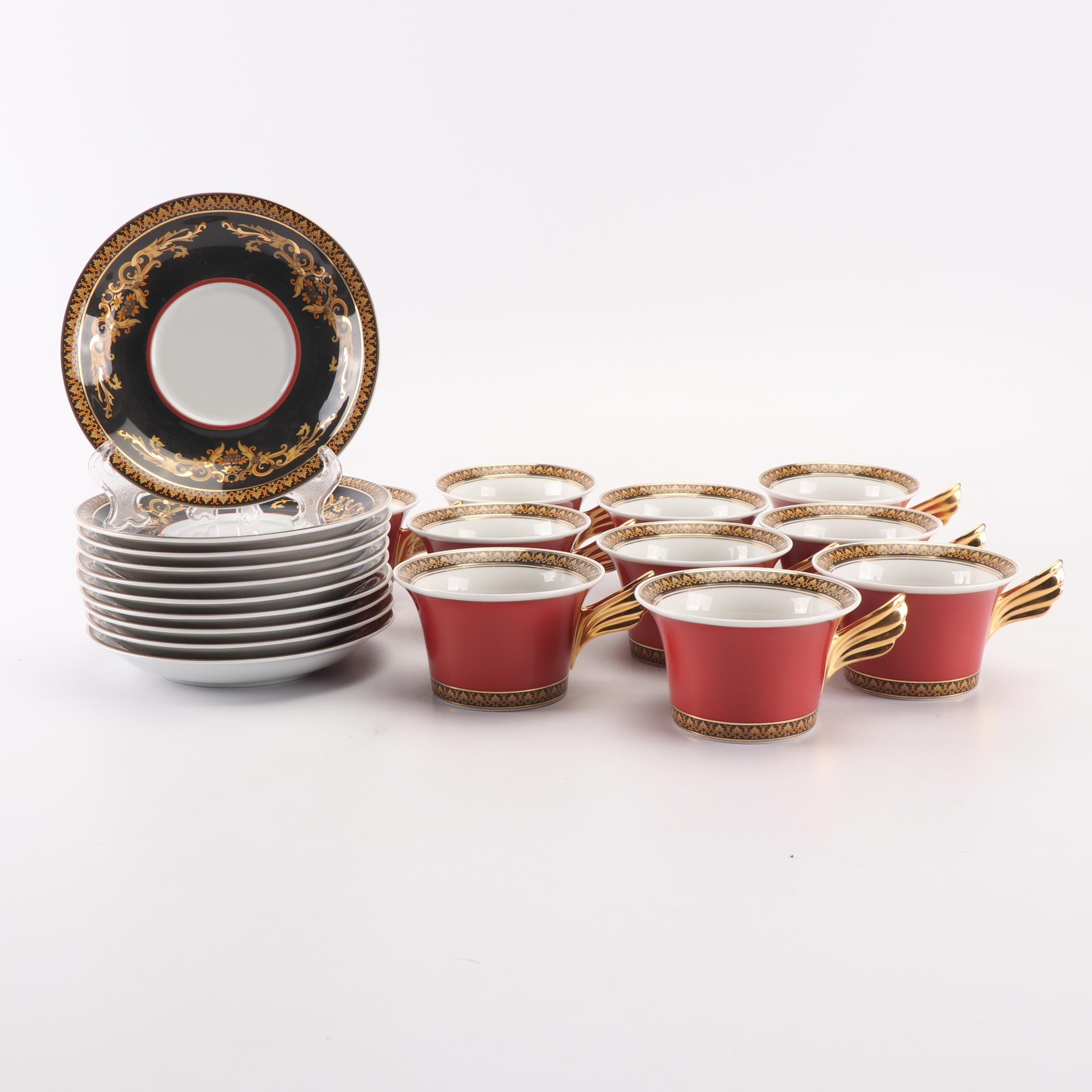 "Versace for Rosenthal ""Medusa Red"" Porcelain Tea Cup and Saucers"