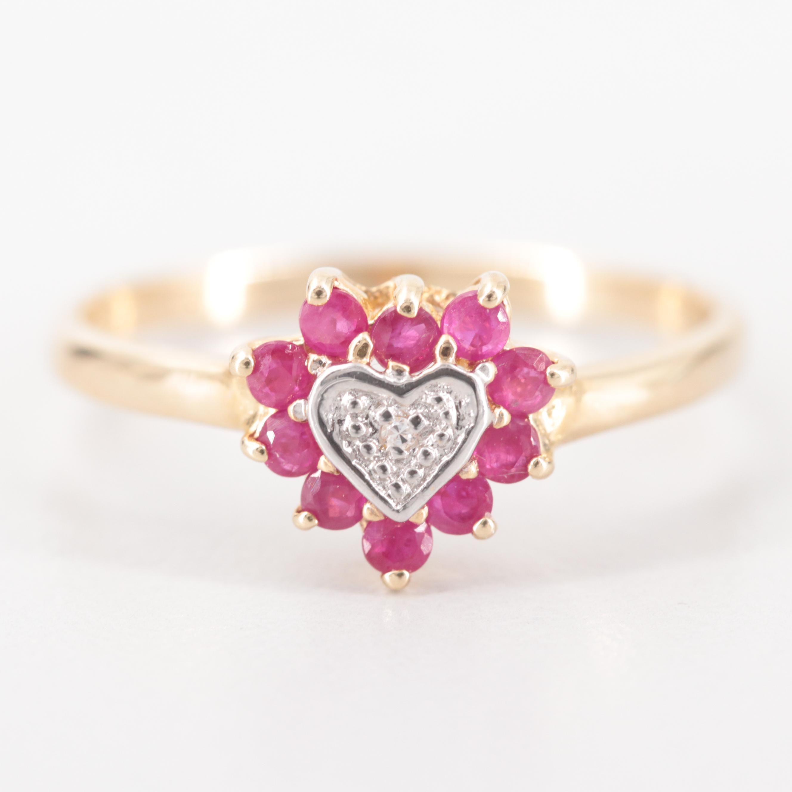 10K Yellow Gold Diamond and Ruby Heart Ring