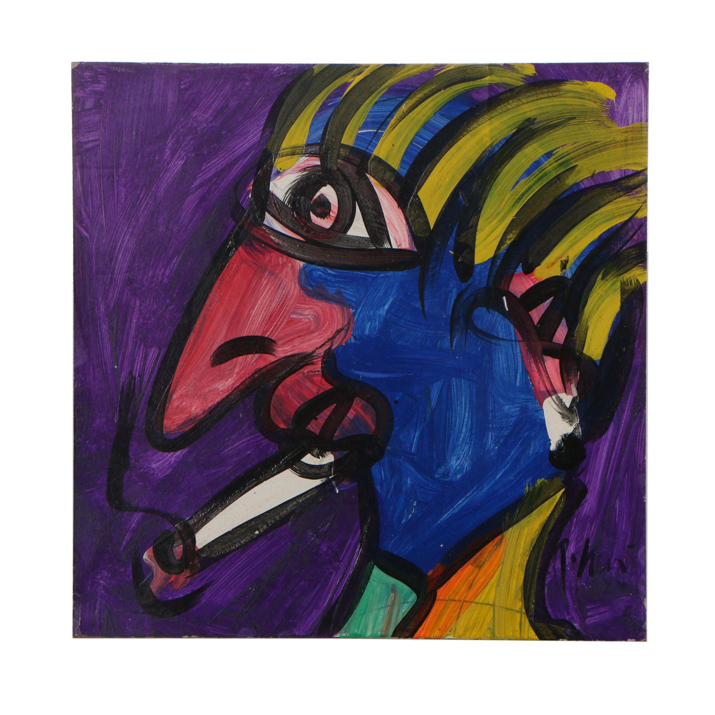"""Peter Keil Oil Painting """"Smoker"""""""