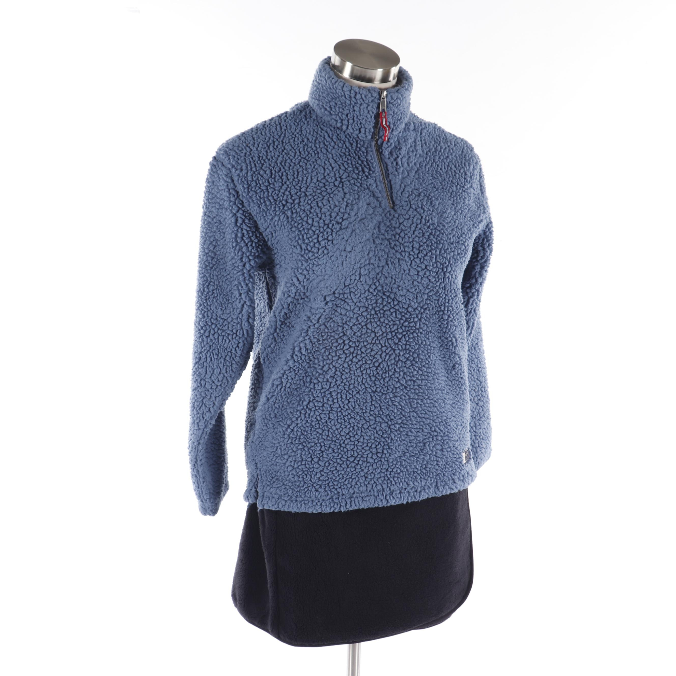Shearling Style Black Miniskirt and Southern Marsh Blue Quarter-Zip Jacket