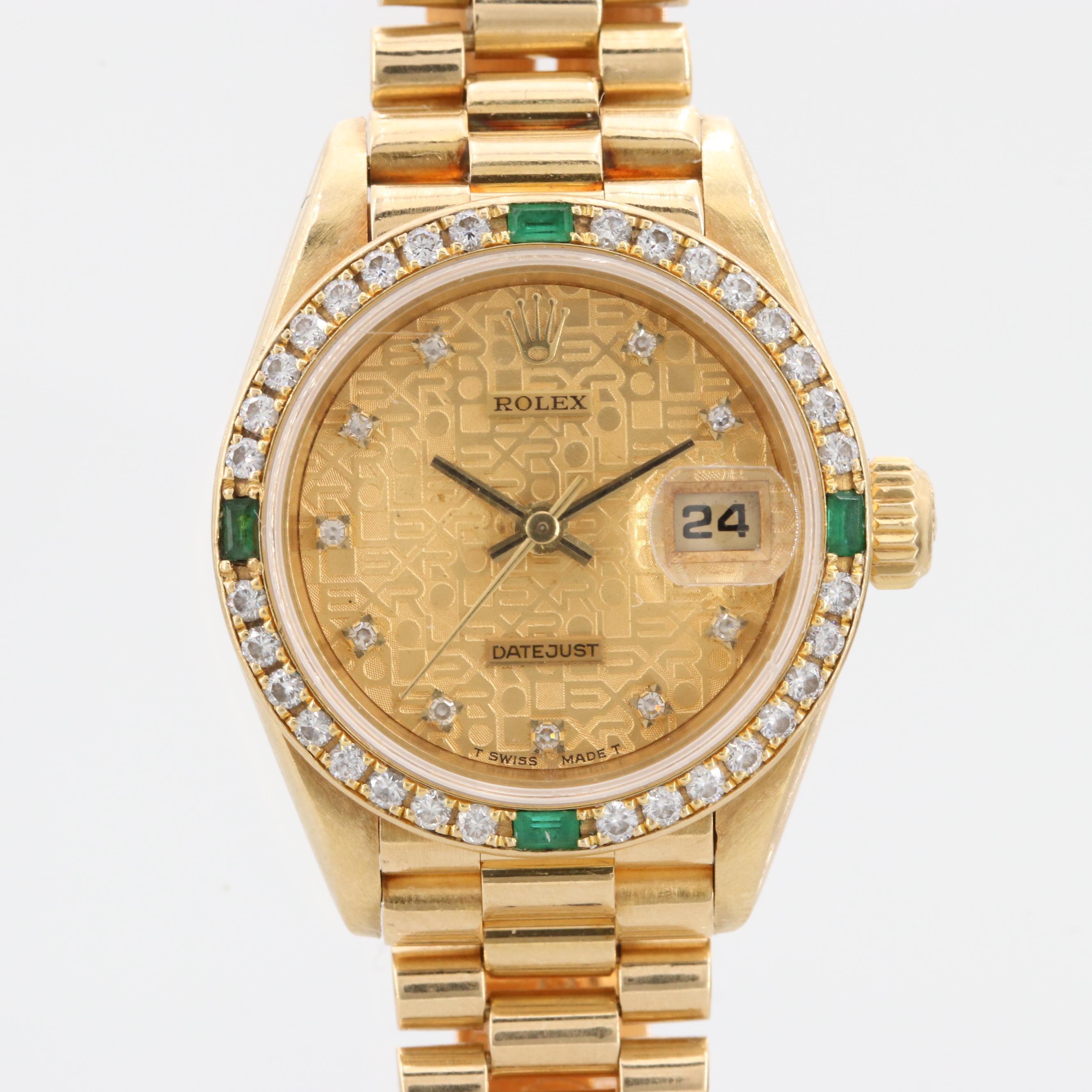 Rolex Datejust 18K Yellow Gold Diamond and Emerald Wristwatch, 1990