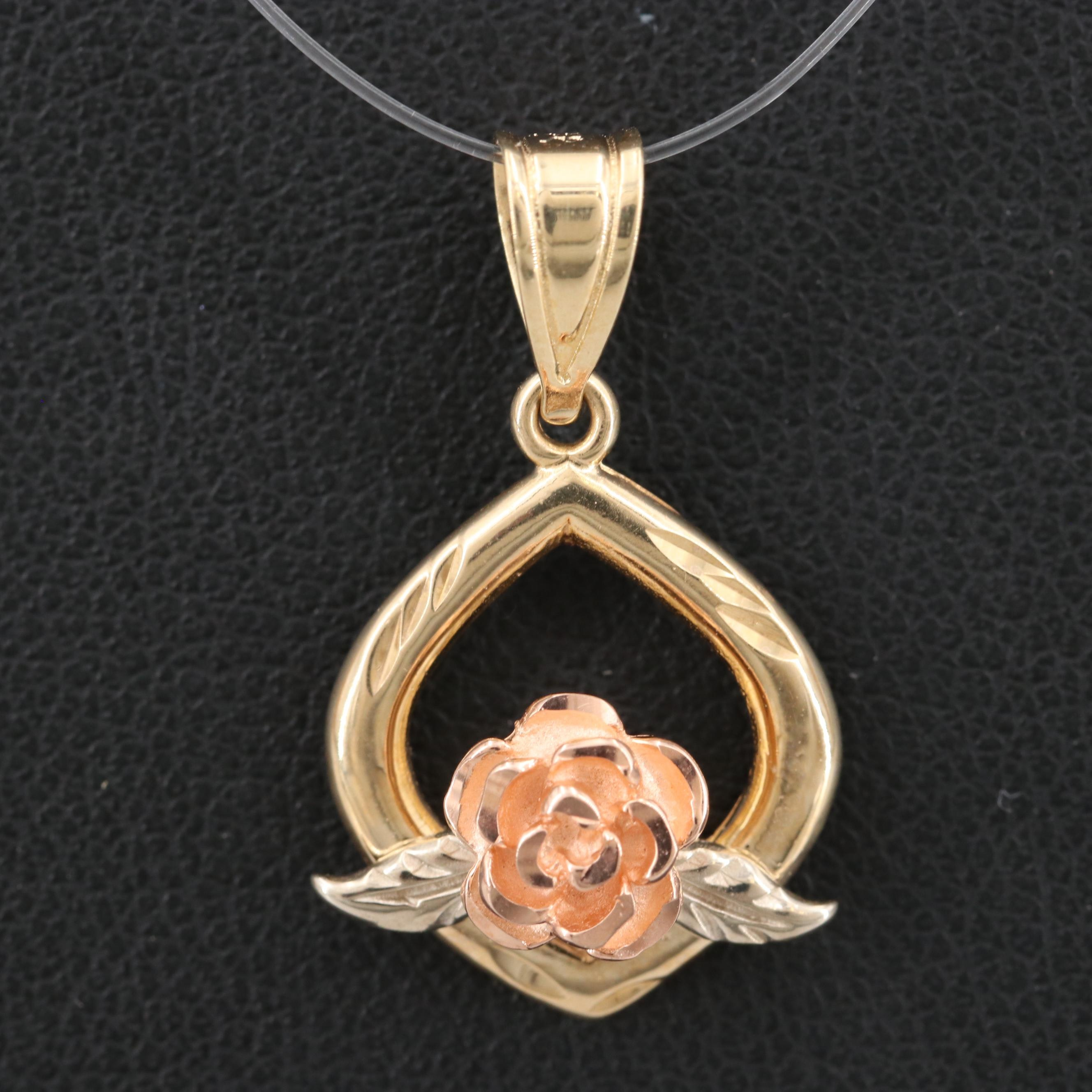 14K Yellow Gold Rose Pendant with Rose and White Gold Accents