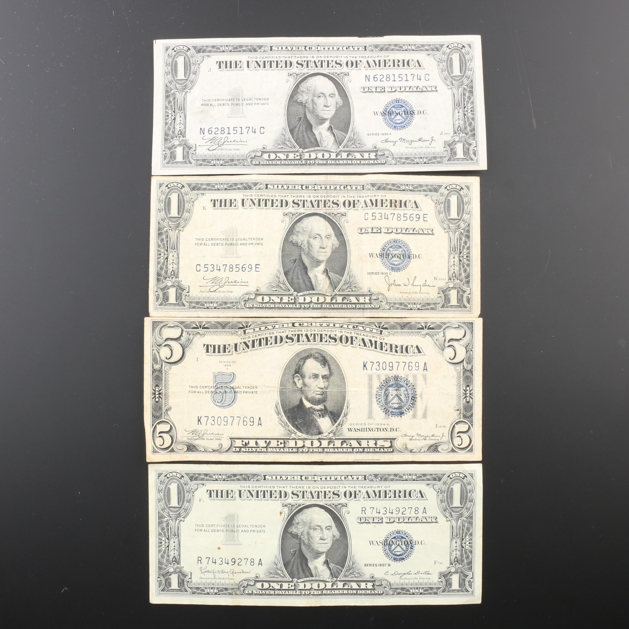 Group of Four United States Silver Certificates