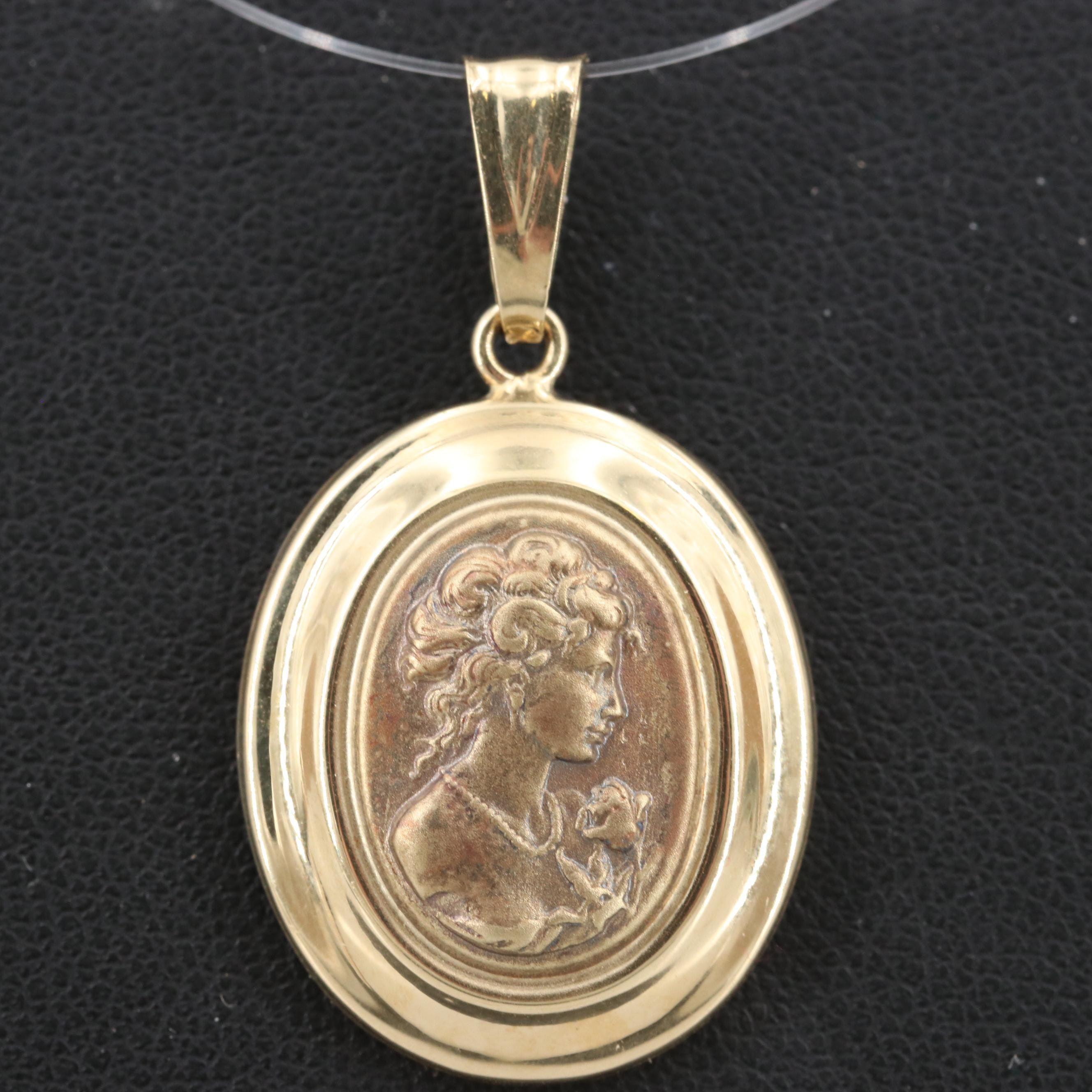 14K Yellow Gold Cameo Pendant