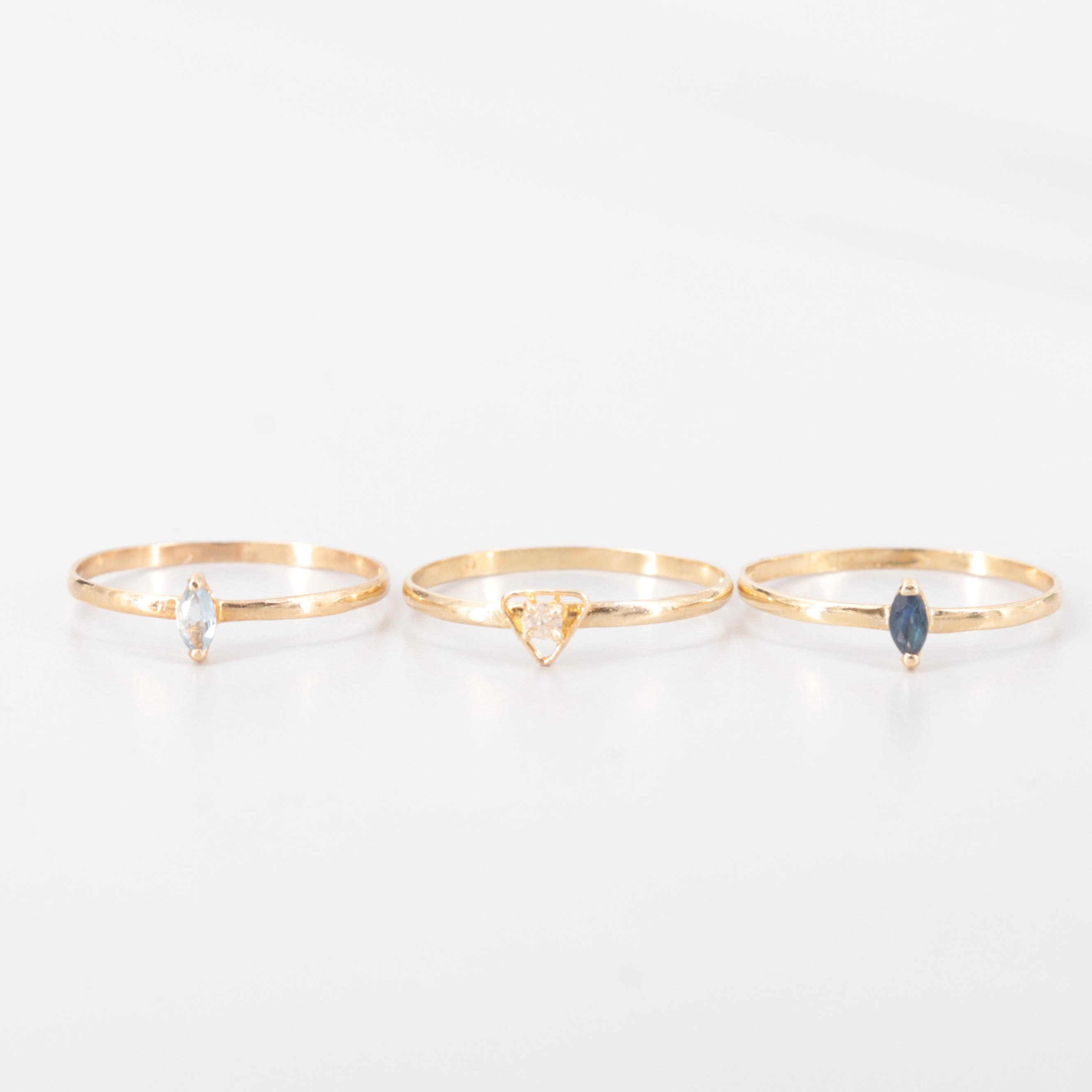 14K Yellow Gold Stackable Diamond, Sapphire and Topaz Stacking Rings