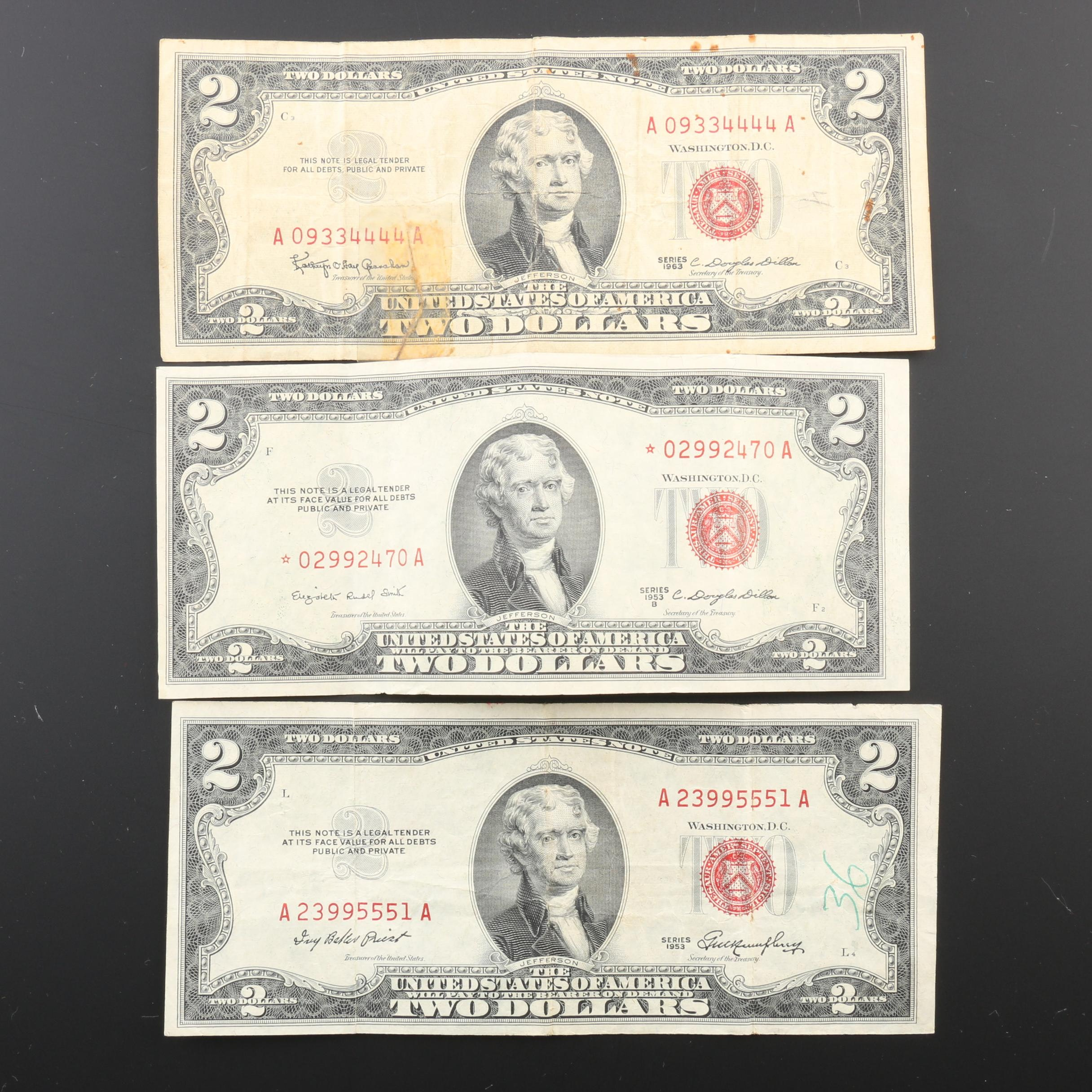 Group of Three United States $2 Legal Tender Notes