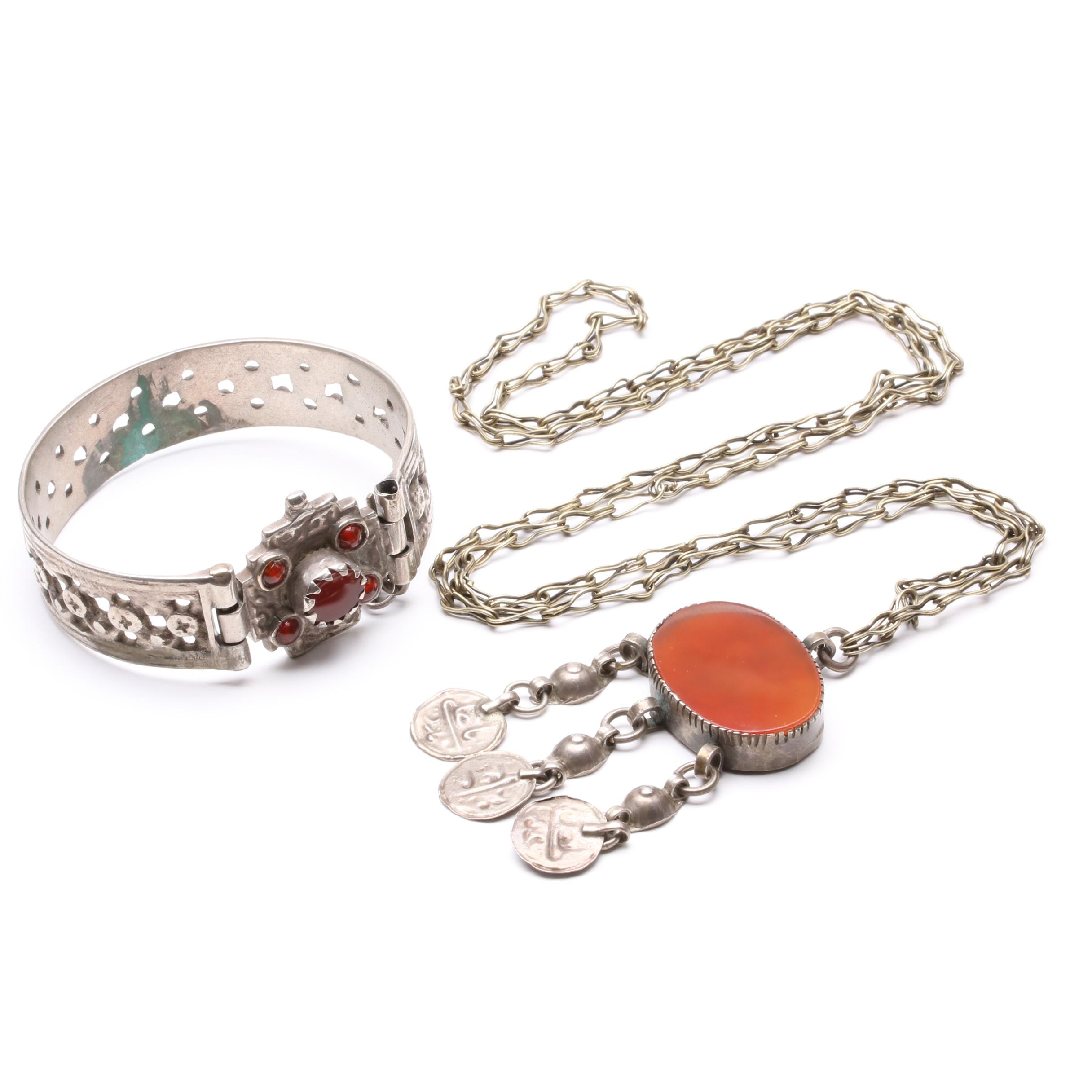 Sterling Silver and 800 Silver Carnelian Necklace and Bracelet