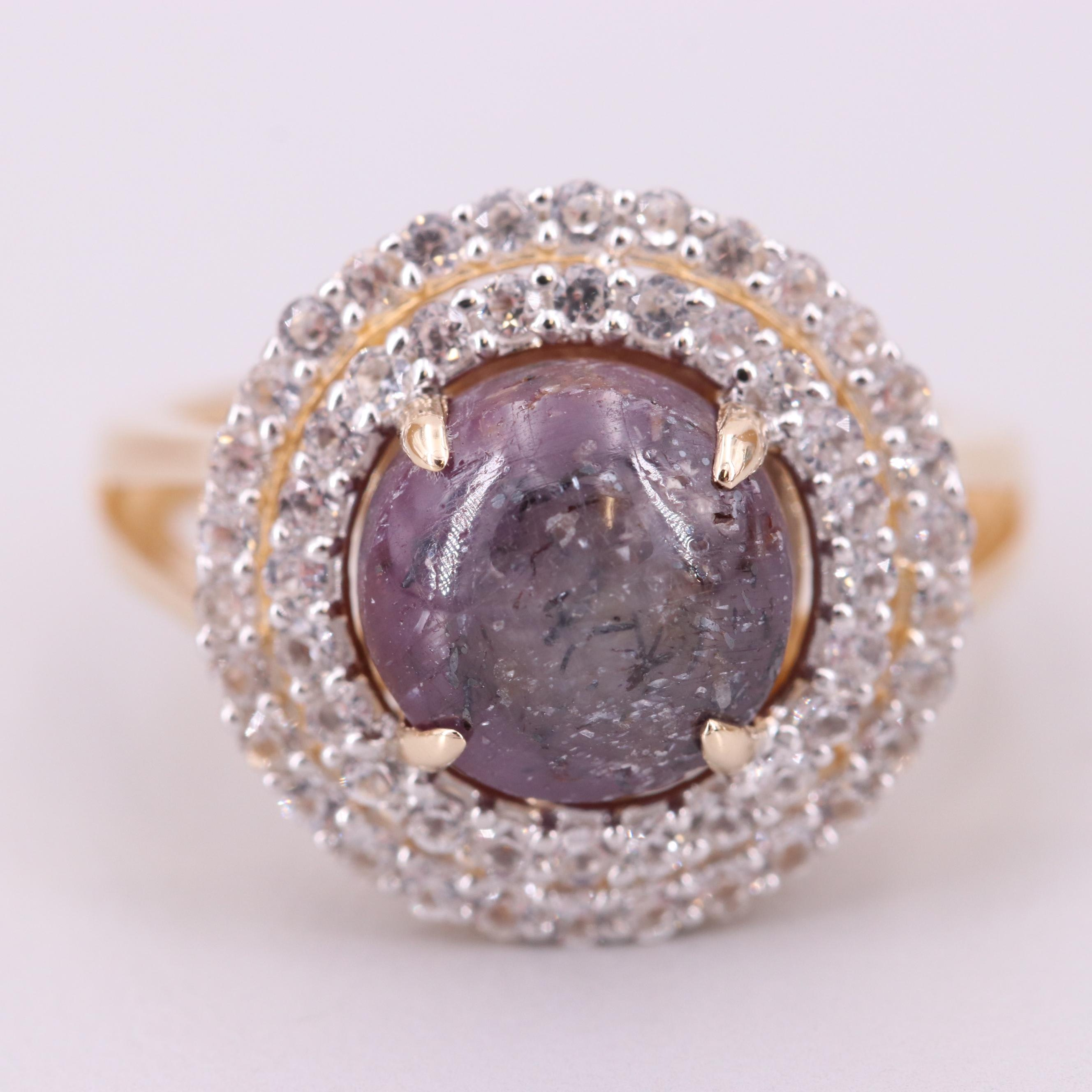 Gold Wash on Sterling Silver Star Sapphire Ring with White Sapphire Accents