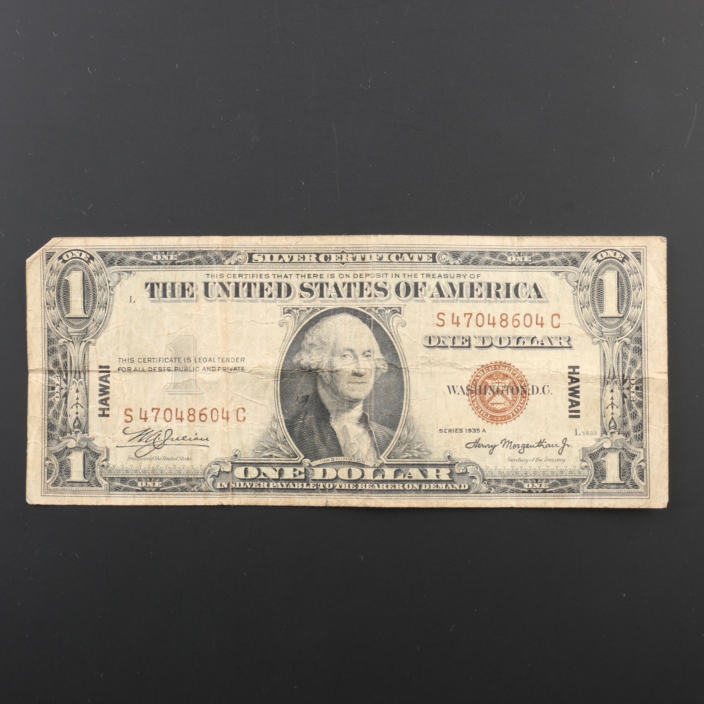 1935-A Brown Seal Hawaii $1 Silver Certificate