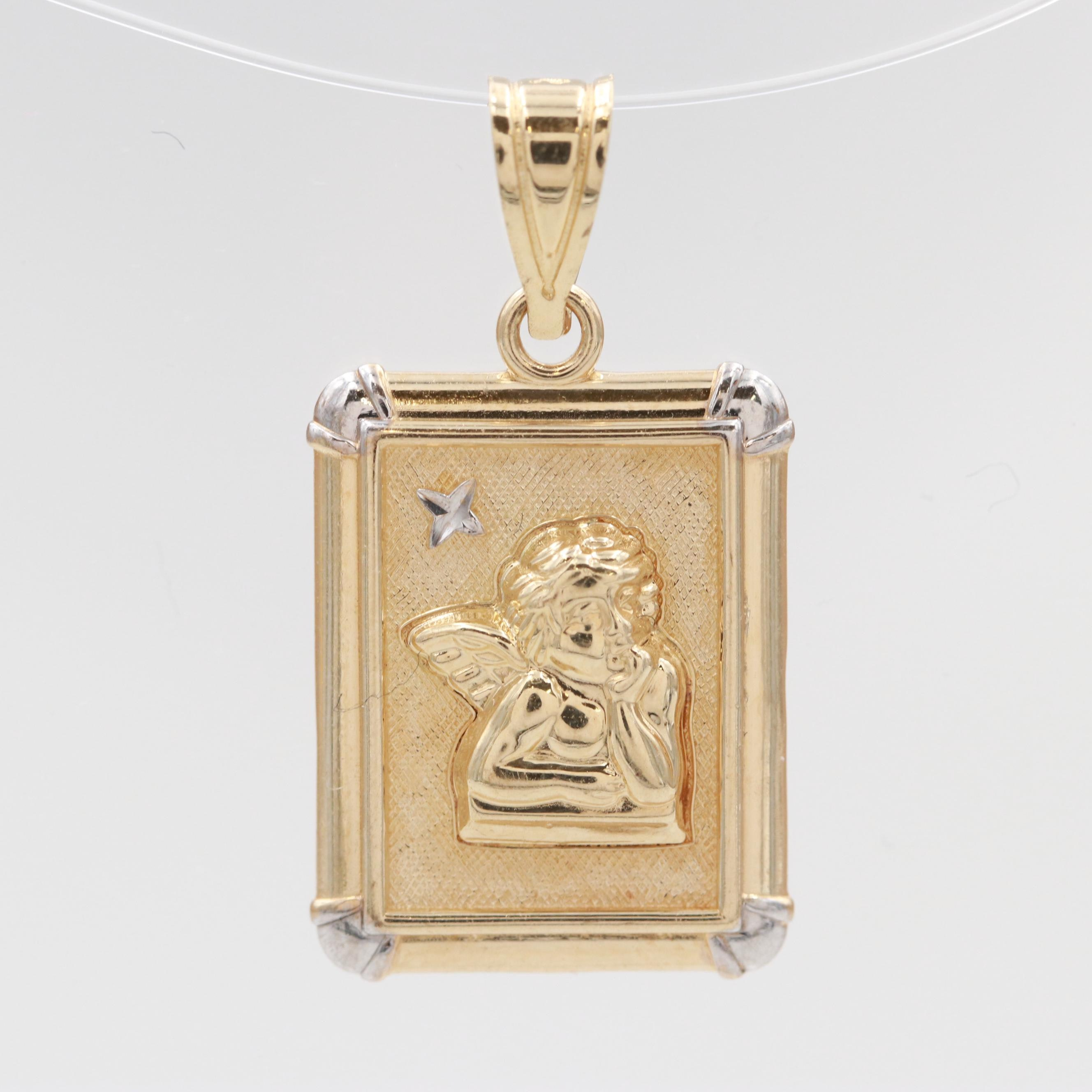 14K Yellow Gold Serenity Prayer Pendant