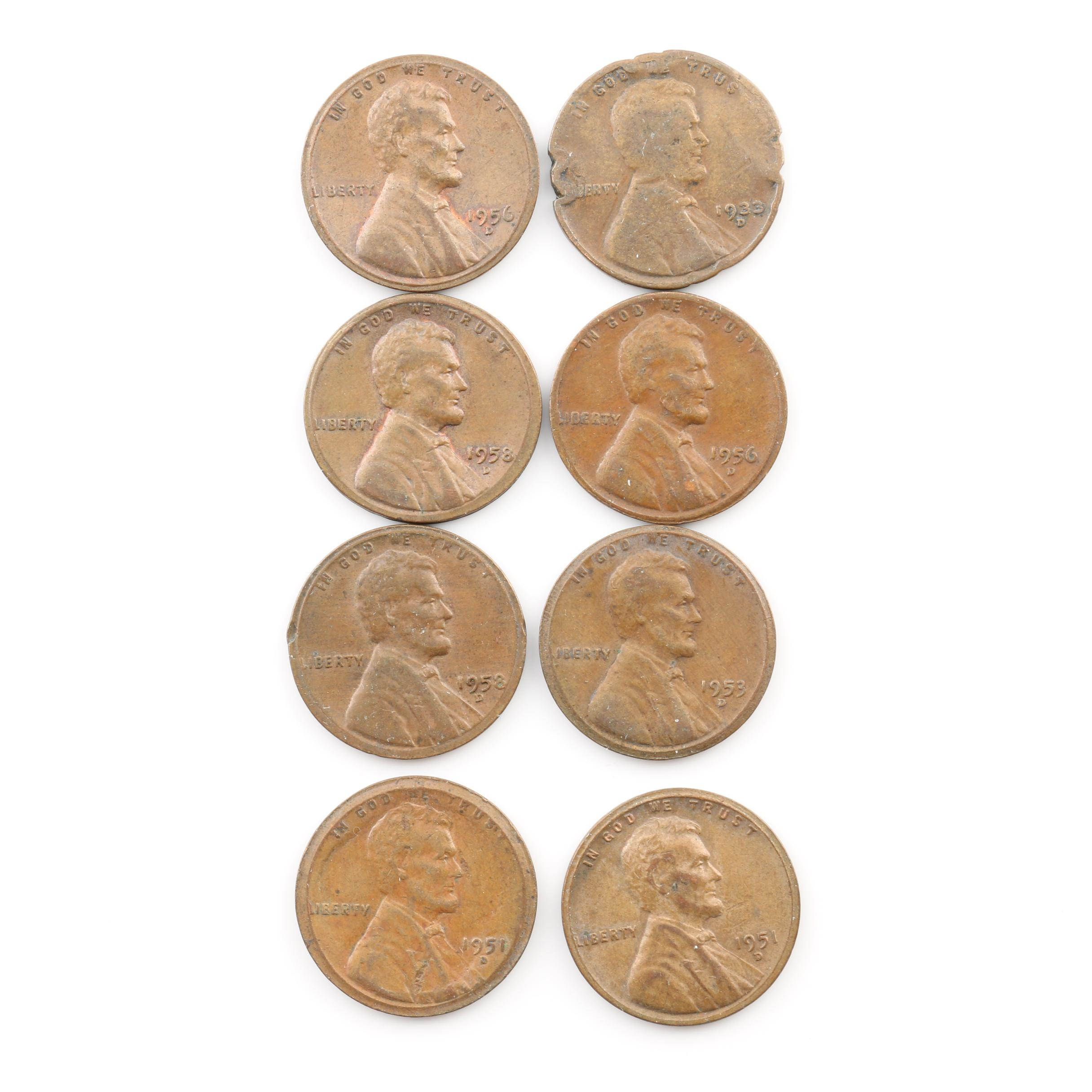 Group of Eight Lincoln Wheat Cents
