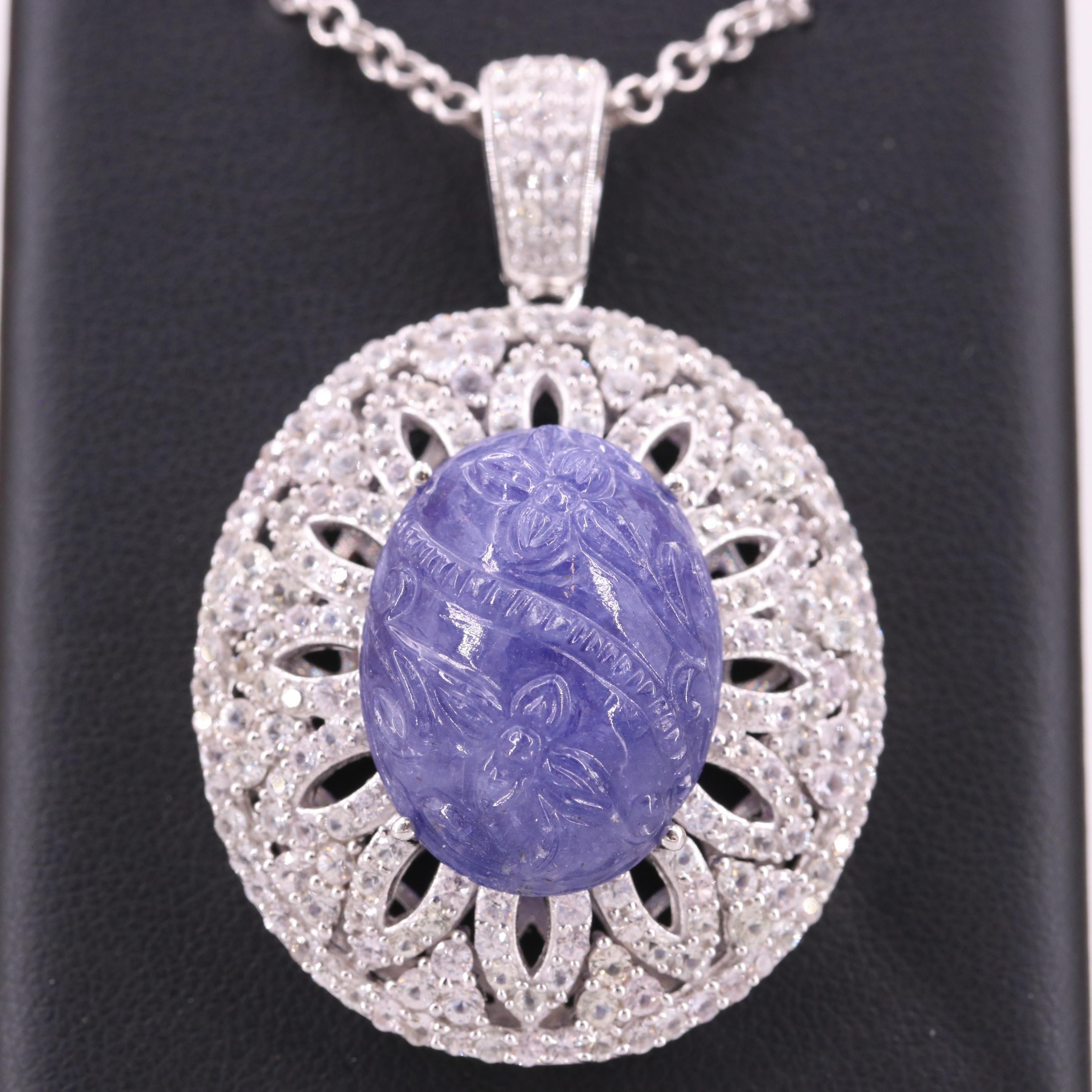Sterling Silver Carved Tanzanite and White Sapphire Pendant Necklace