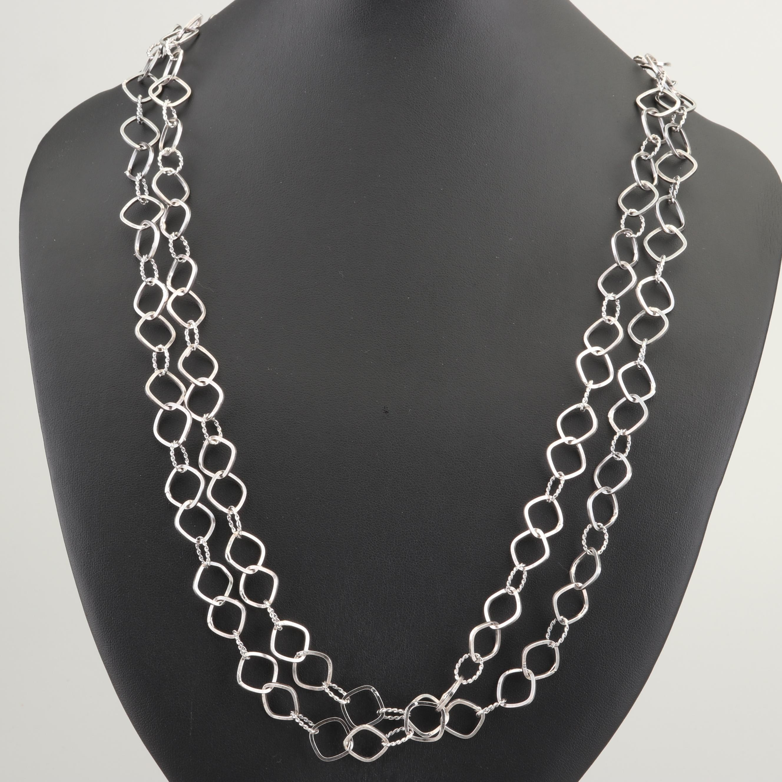 Sterling Silver Lariat Length Chain Necklace