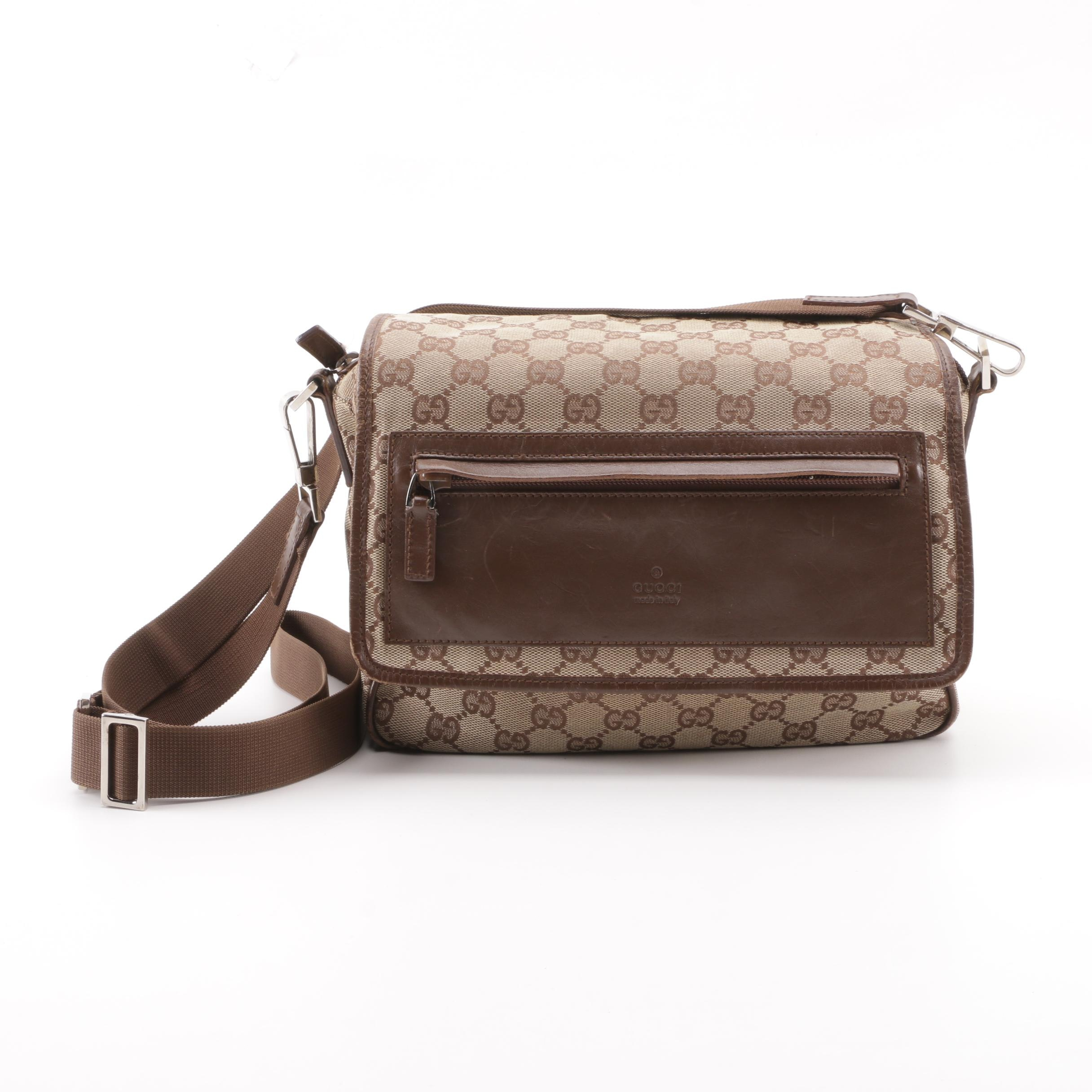 Vintage Gucci GG Canvas and Brown Leather Flap Front Crossbody Bag