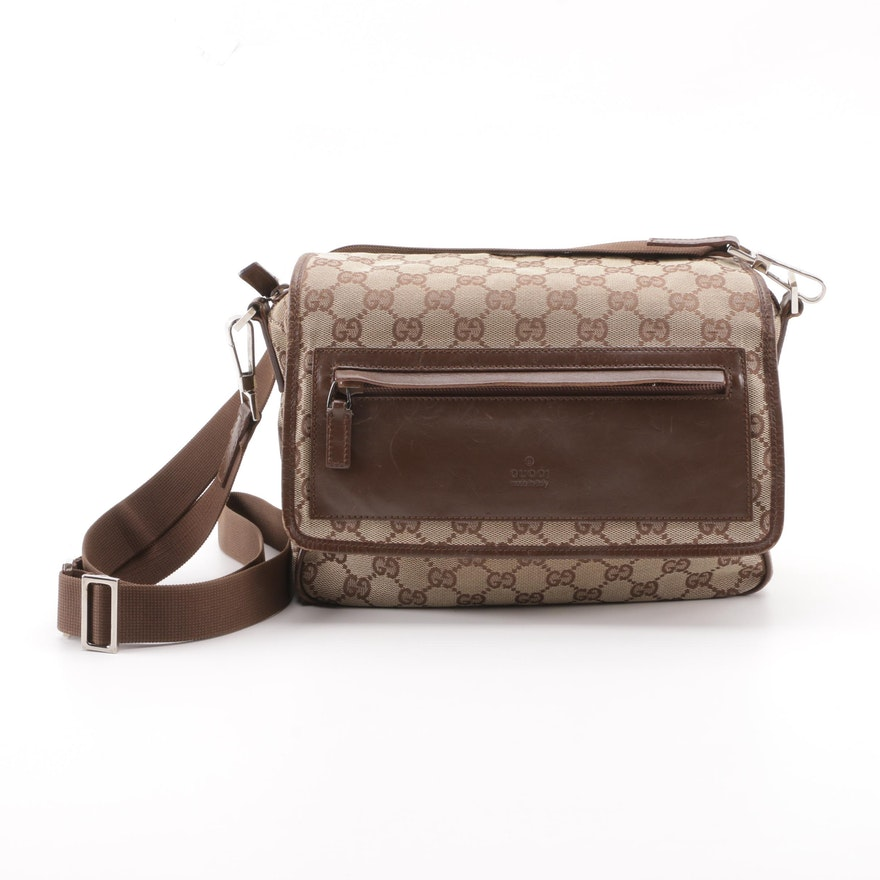 671ecf4f53f Vintage Gucci GG Canvas and Brown Leather Flap Front Crossbody Bag   EBTH