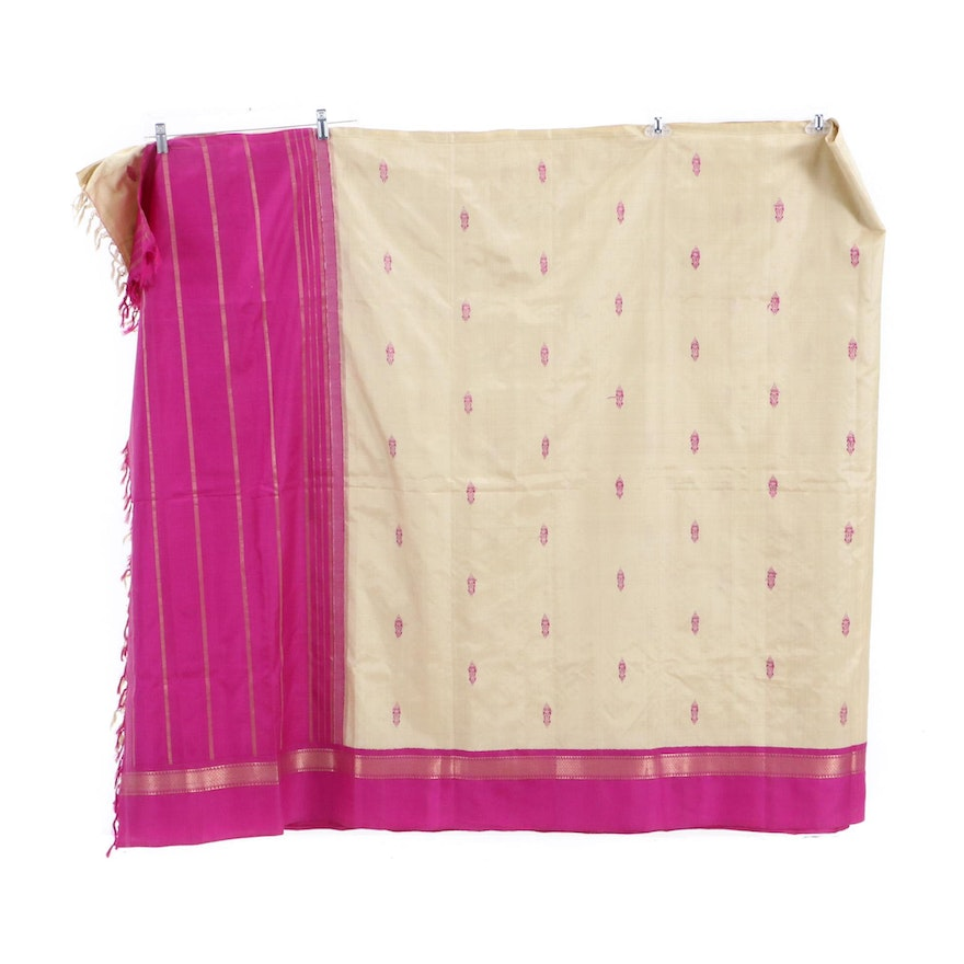 Antique Indian Silk and Fabric Cloth with Brocade Pattern