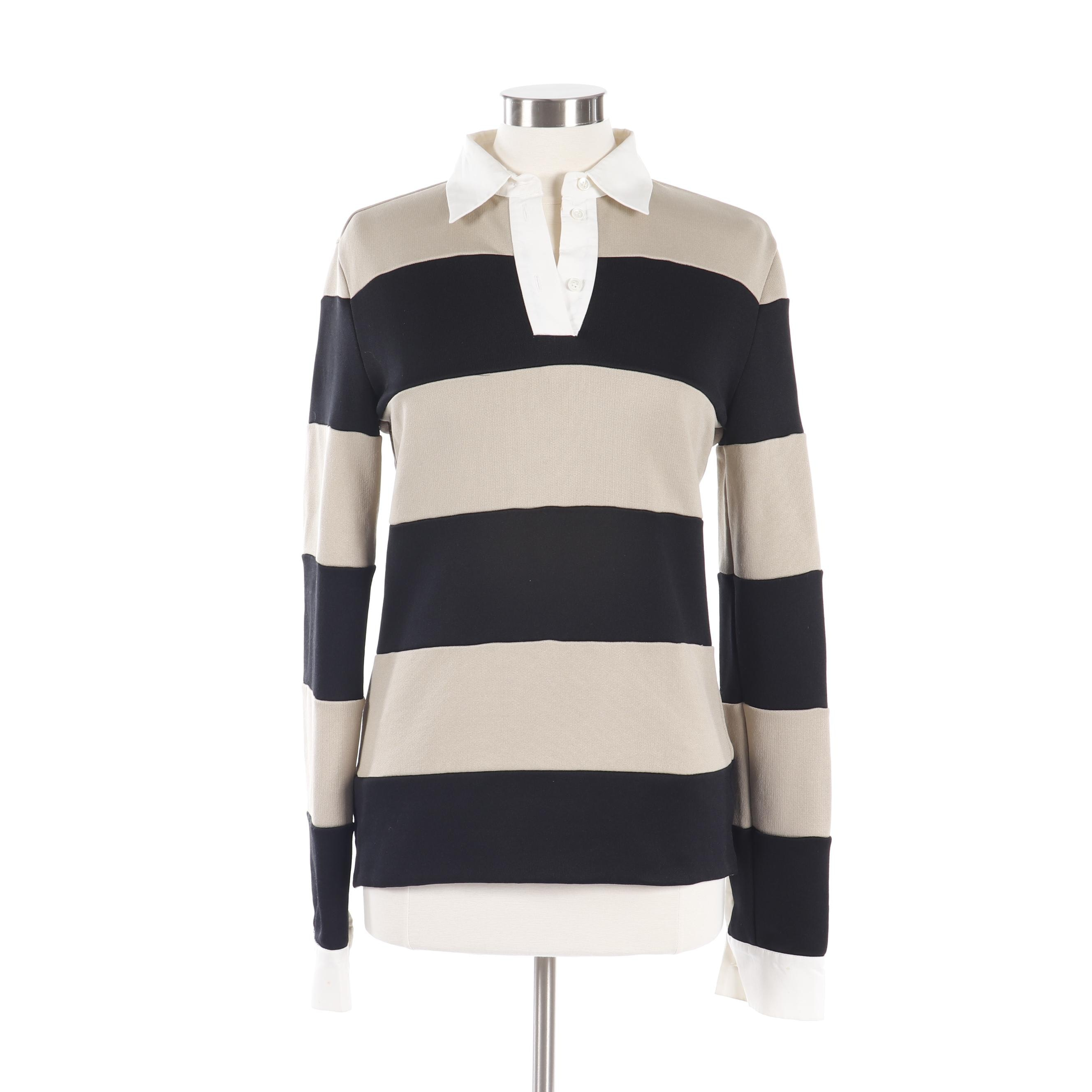 Women's Viktor & Rolf Black and Tan Striped Rugby Style Shirt
