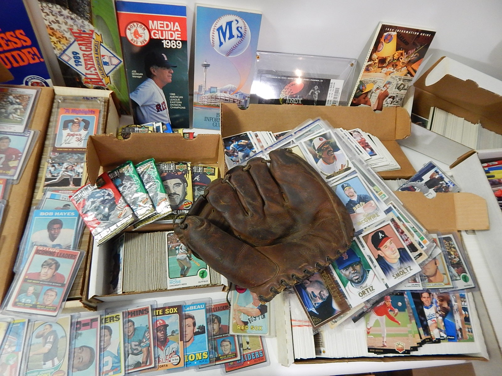 Large Collection of Sports Cards & Memorabilia with 1940s Wilson Baseball Glove