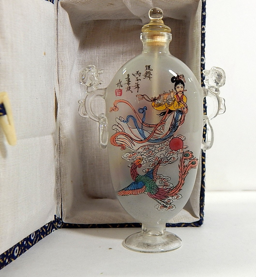 Contemporary Chinese Transferware Snuff Glass Bottle