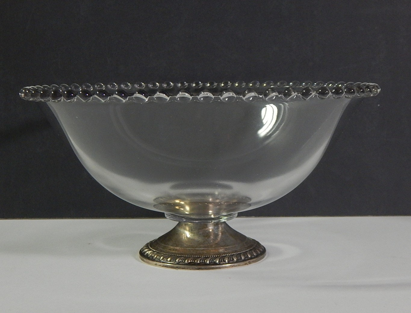 """Candlewick """"Mayflower"""" Weighted Sterling Silver and Glass Fruit Bowl"""