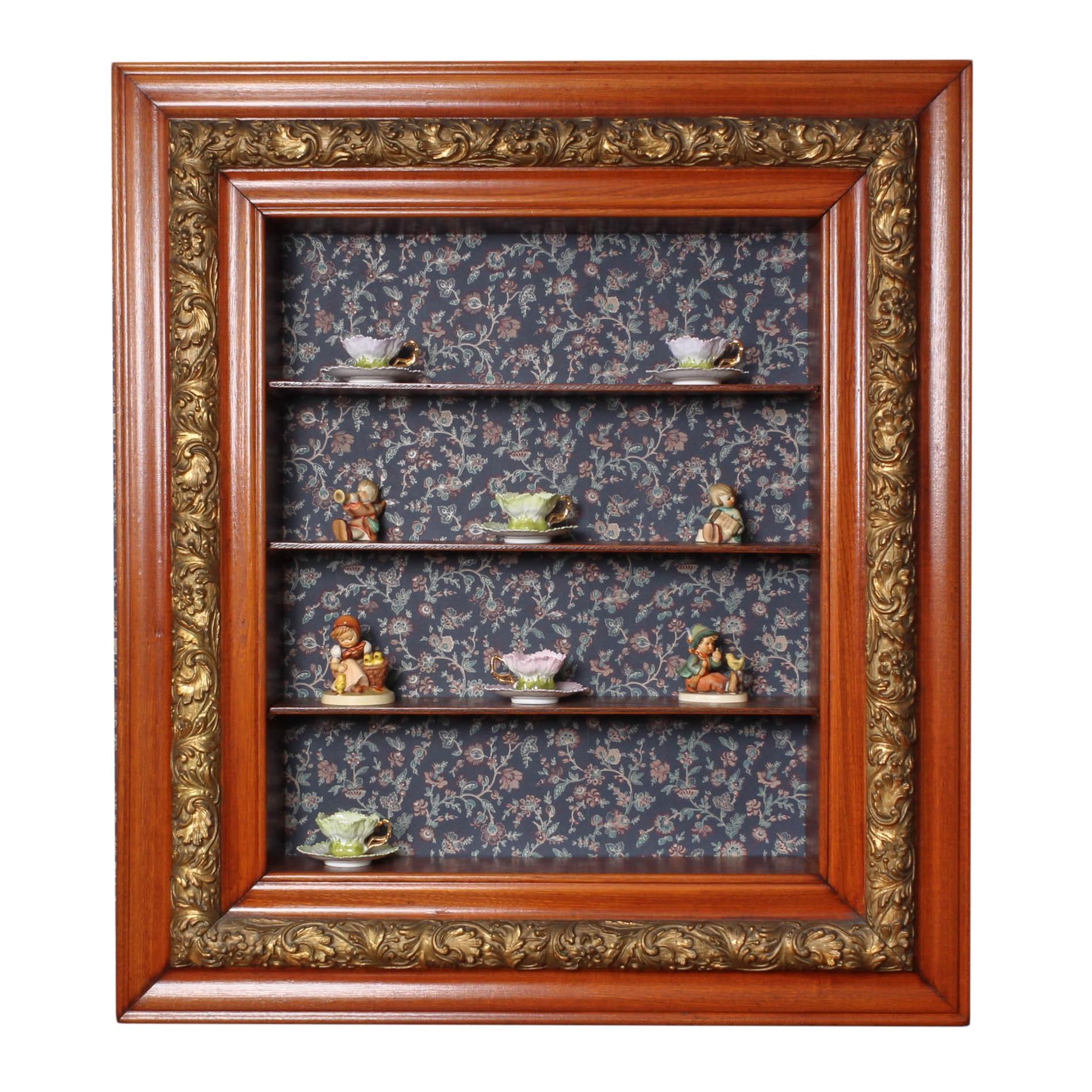 Gilt Wood Display Shelf with Hummel Figurines