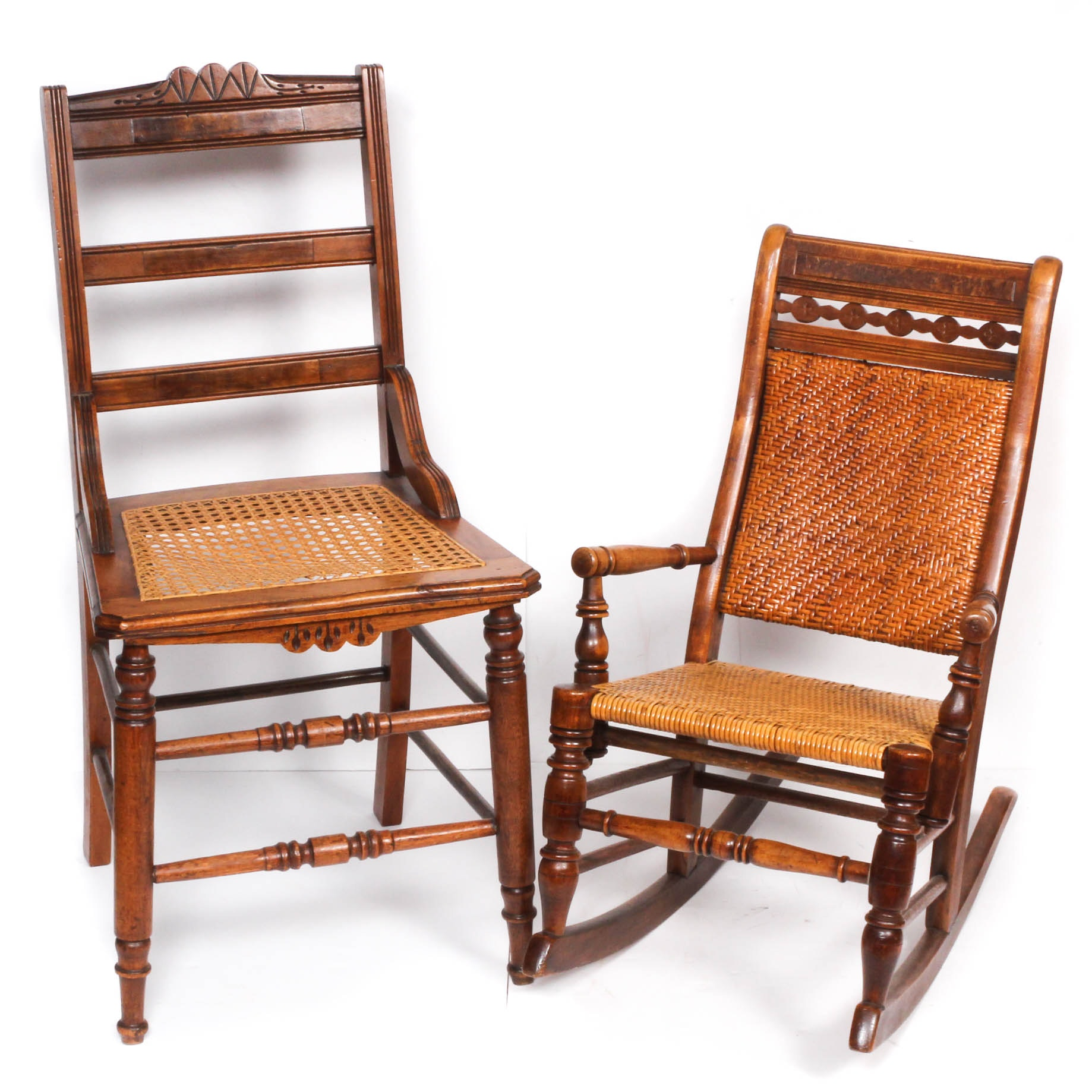 Wood Framed Caned Seat Chairs