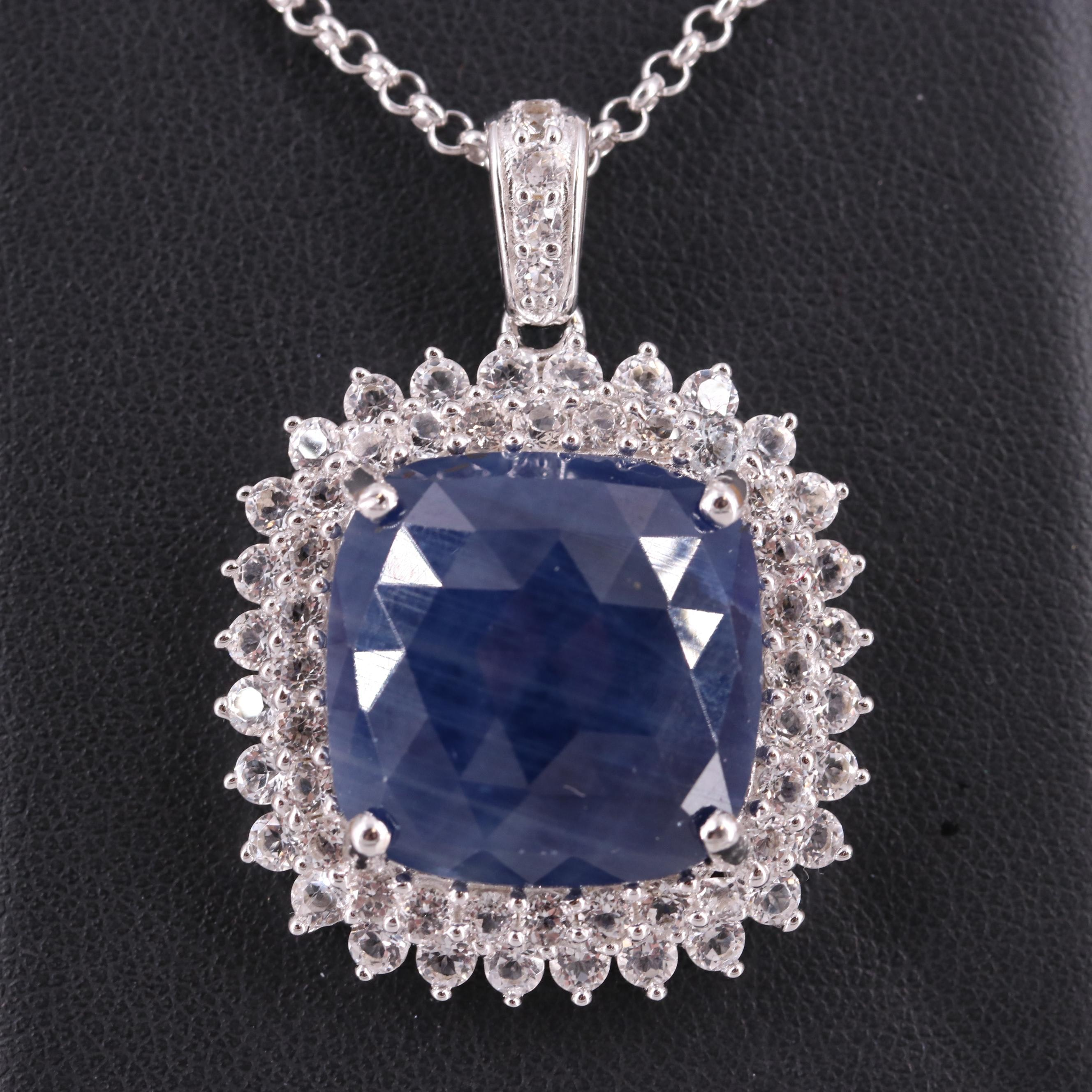 Sterling Silver Blue Corundum and White Topaz Pendant Necklace