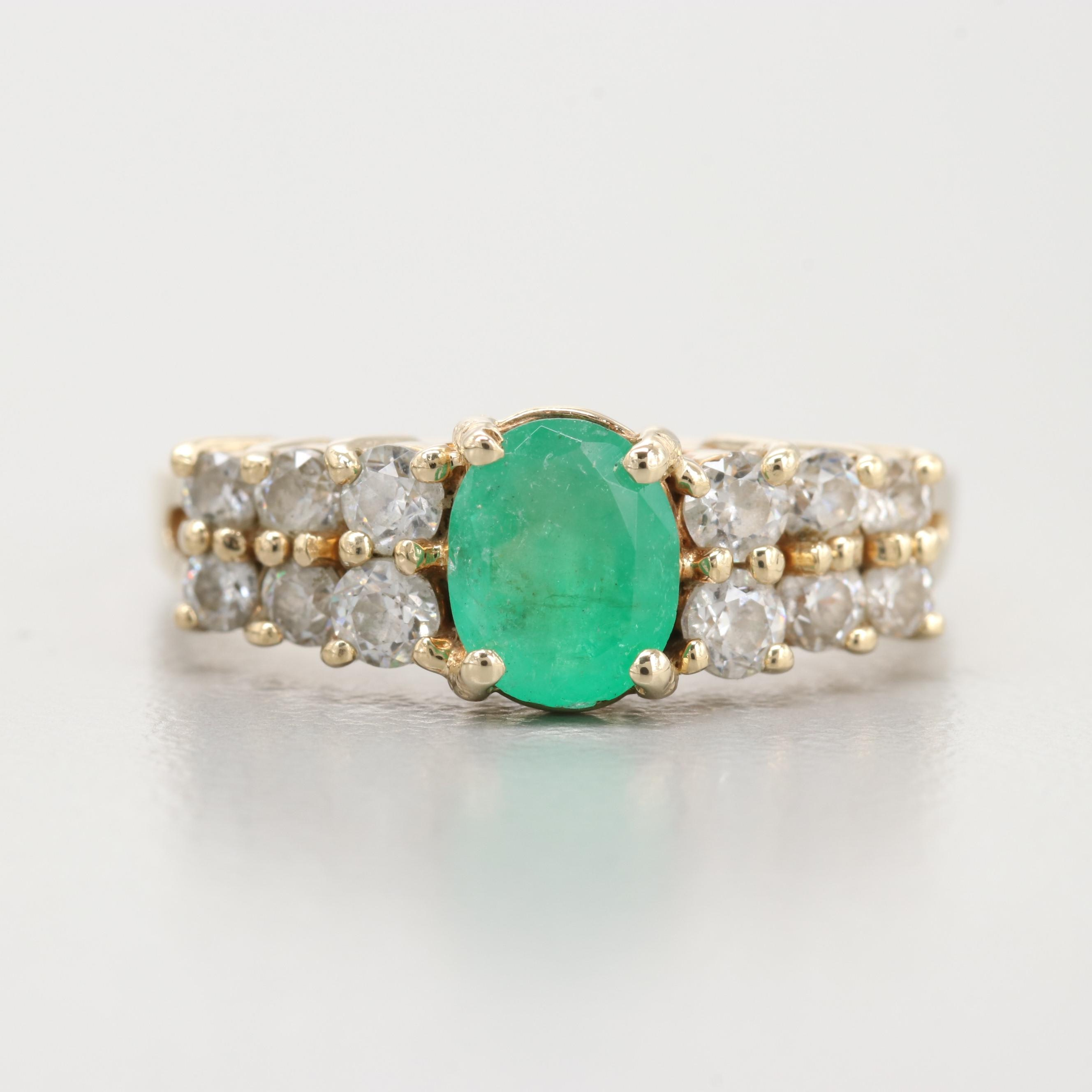 14K Yellow Gold Emerald And CZ Ring