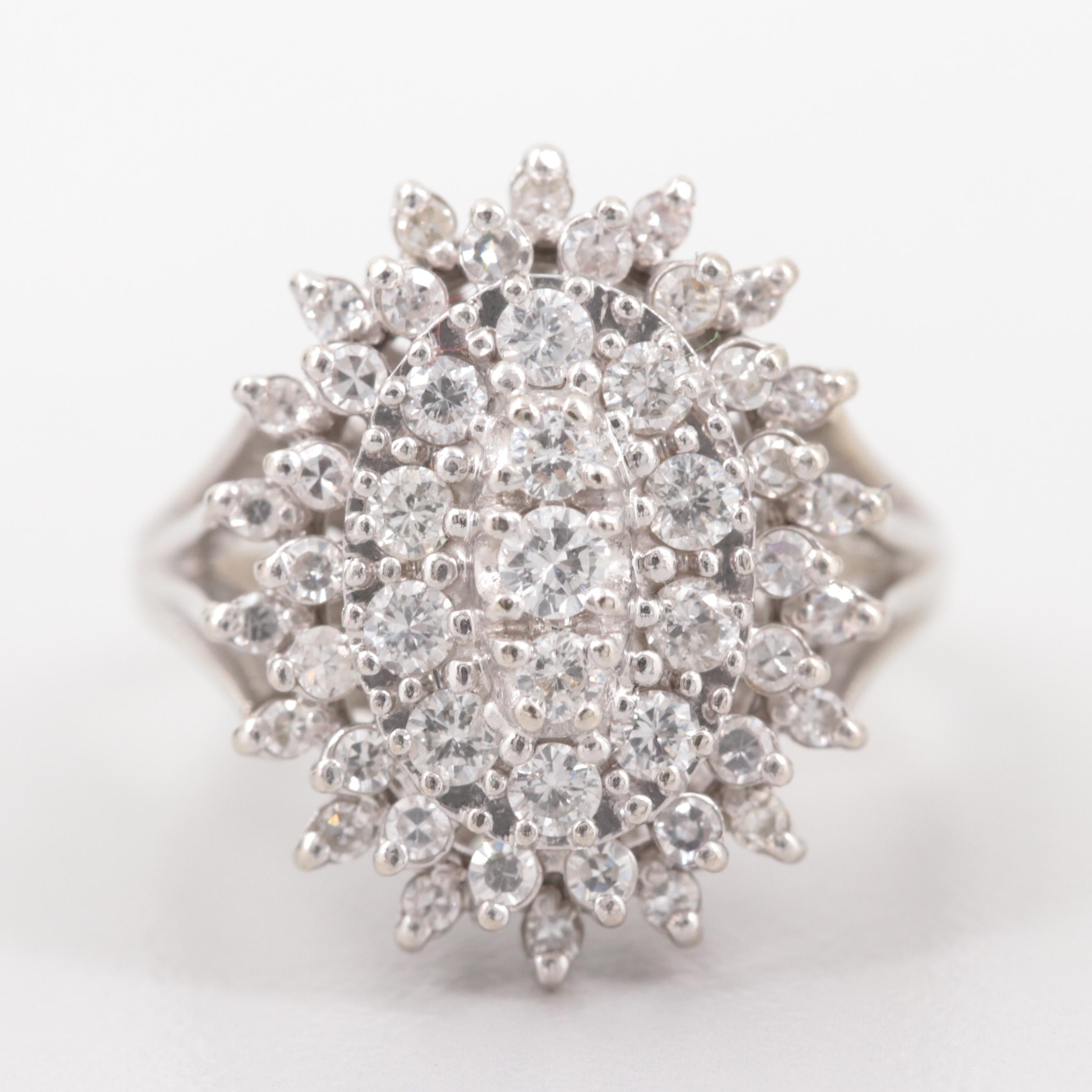 14K White Gold 1.21 CTW Diamond Cluster Ring