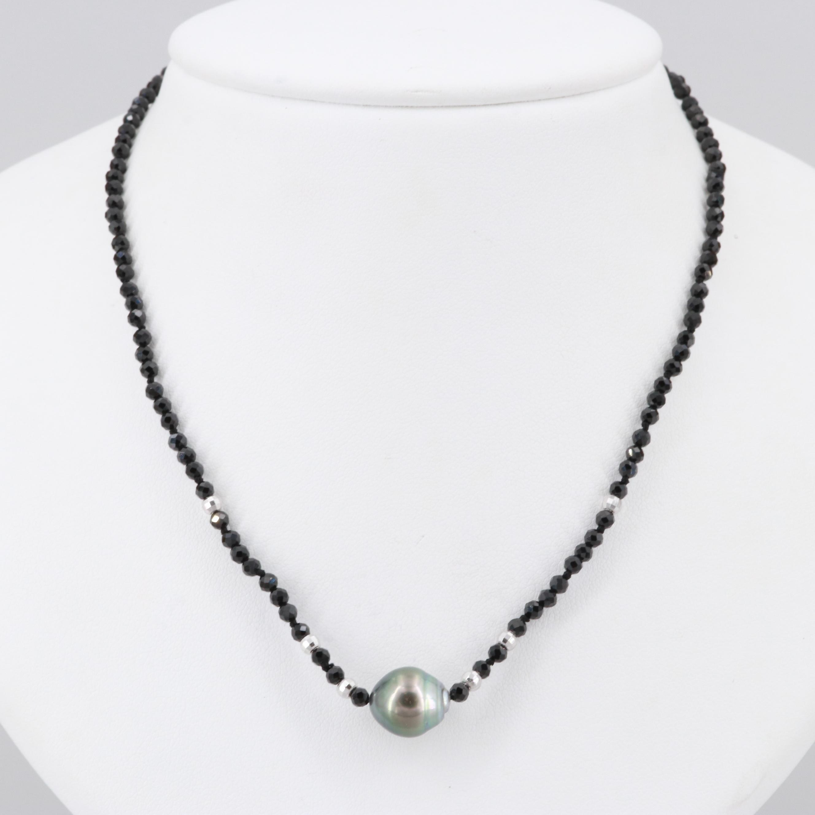 Sterling Silver Cultured Pearl and Black Onyx Beaded Necklace
