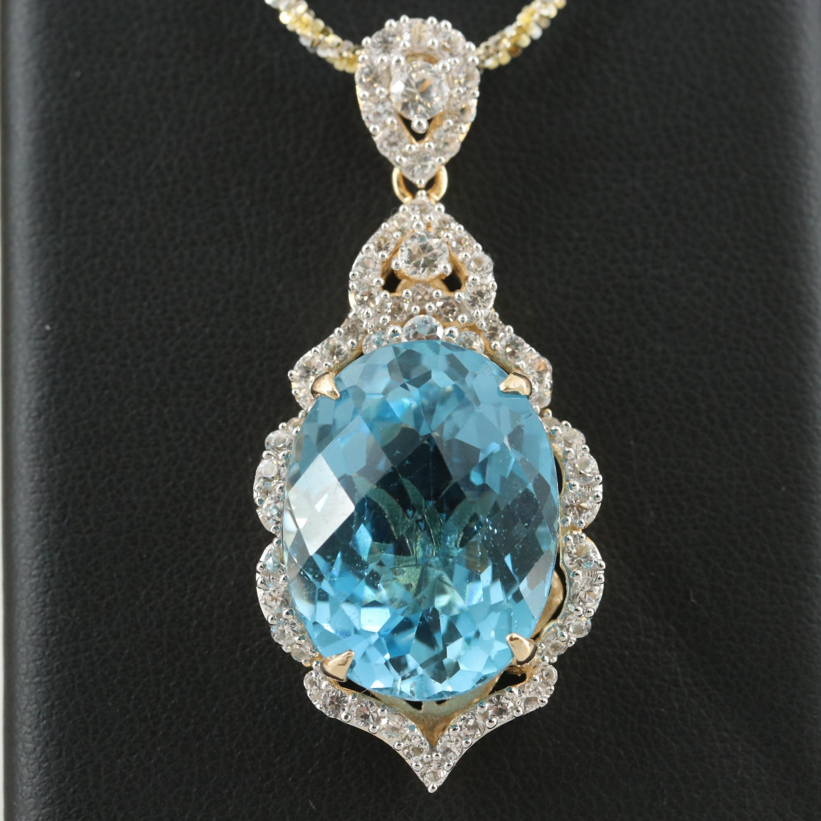 Gold Wash on Sterling Silver Blue Topaz Necklace Accented by White Sapphire