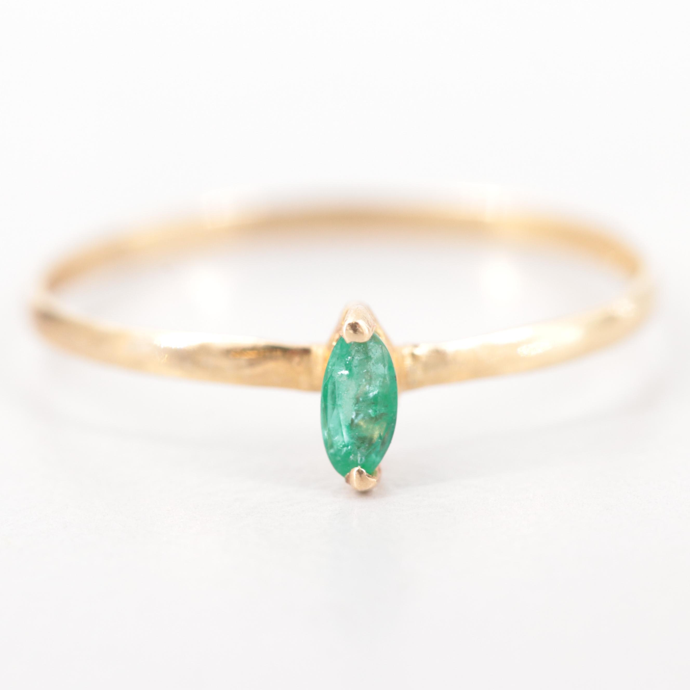 14K Yellow Gold Emerald Stackable Ring