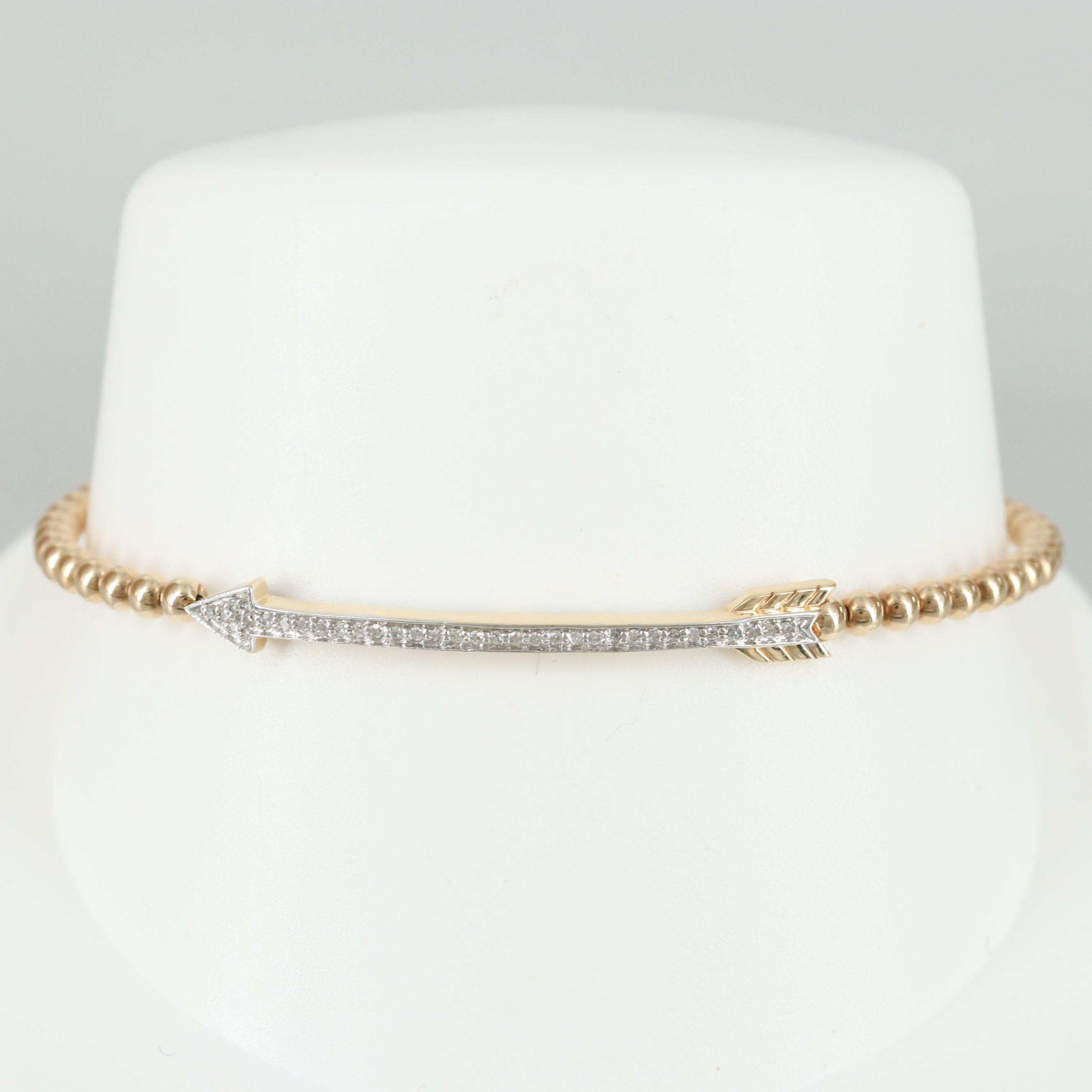 14K Yellow Gold Diamond Arrow Bracelet