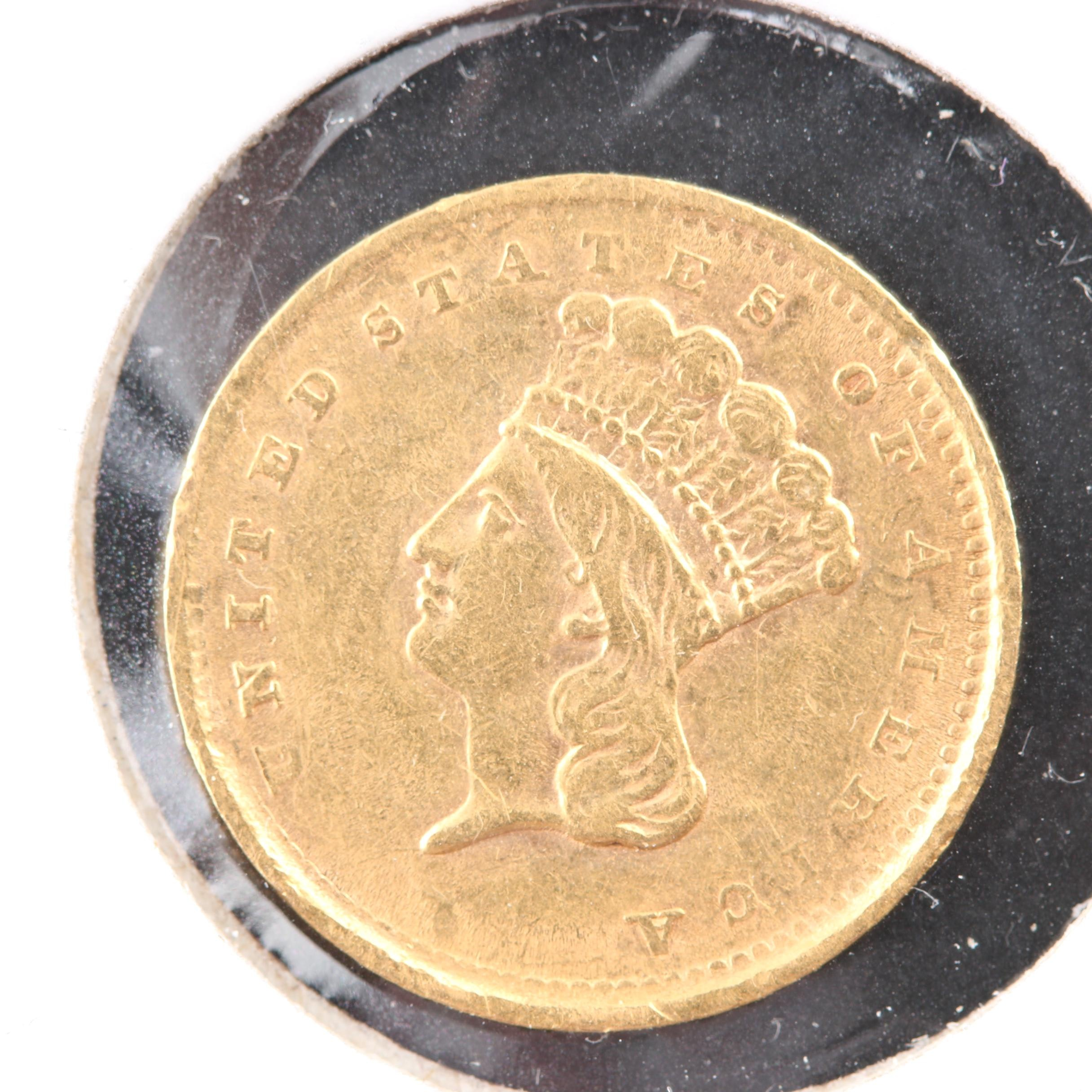 1856 Type 3 Indian Princess Head Gold Dollar Coin