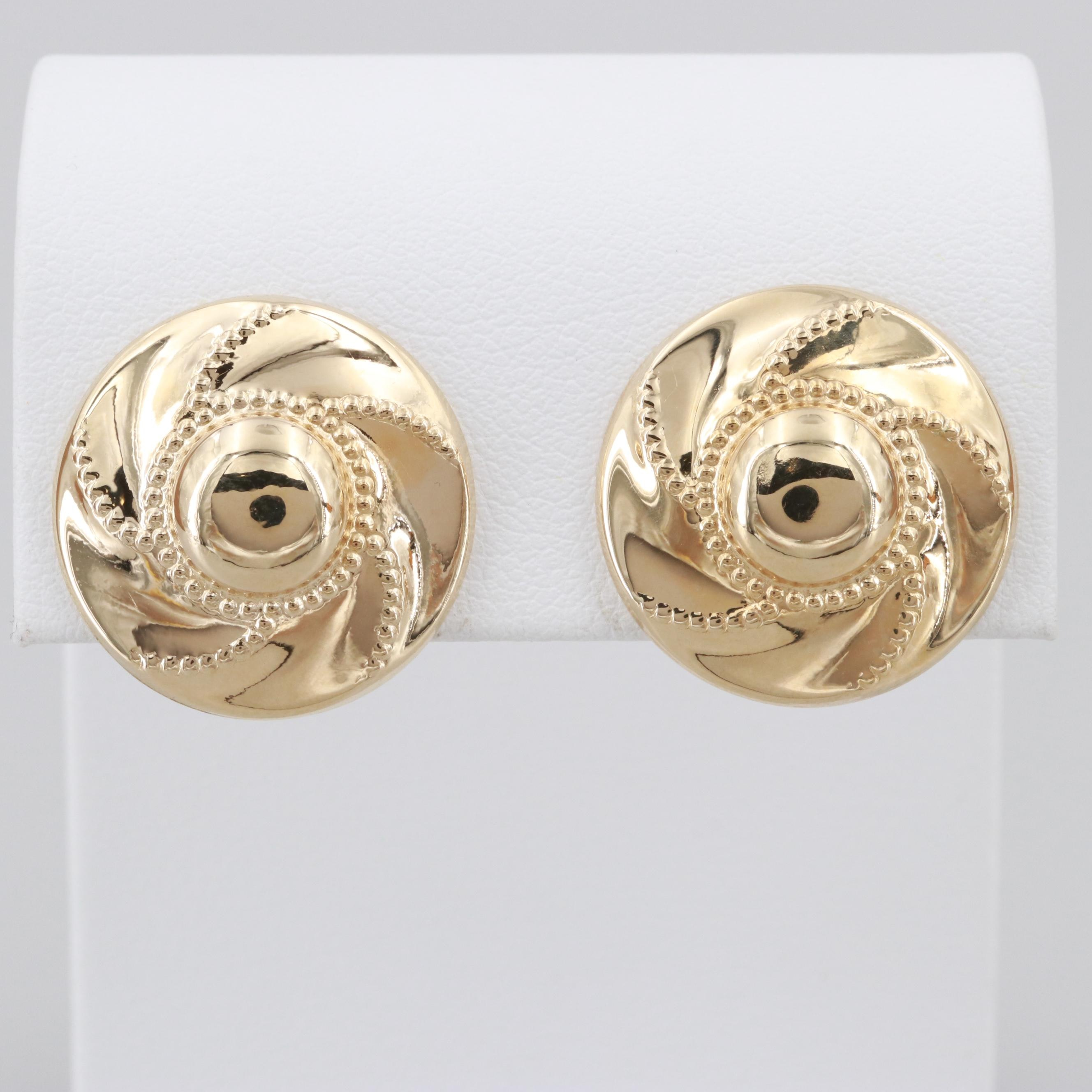 14K Yellow Gold Earrings with Milgrain Detailing
