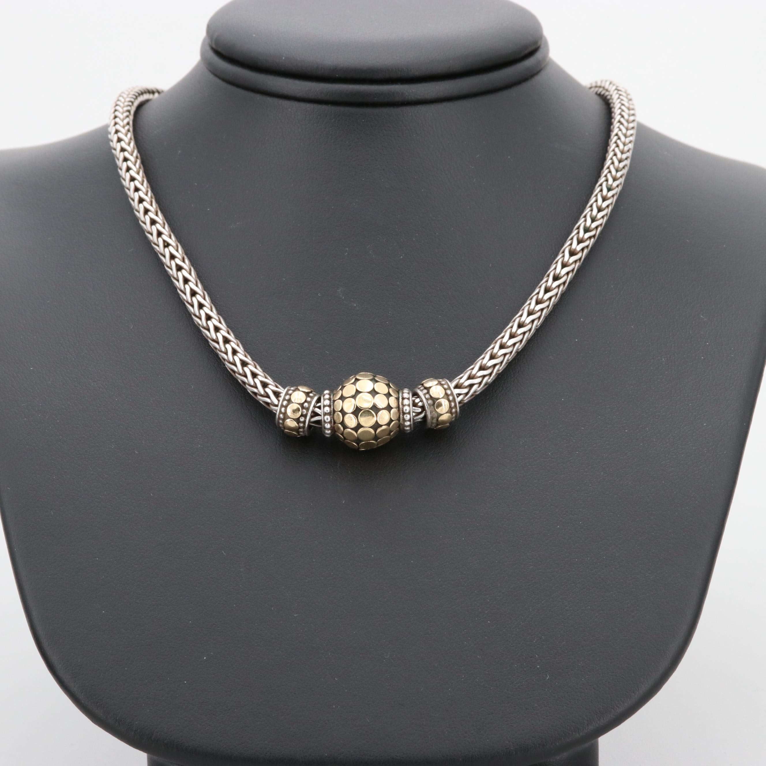 John Hardy Sterling Silver Necklace with 18K Accents