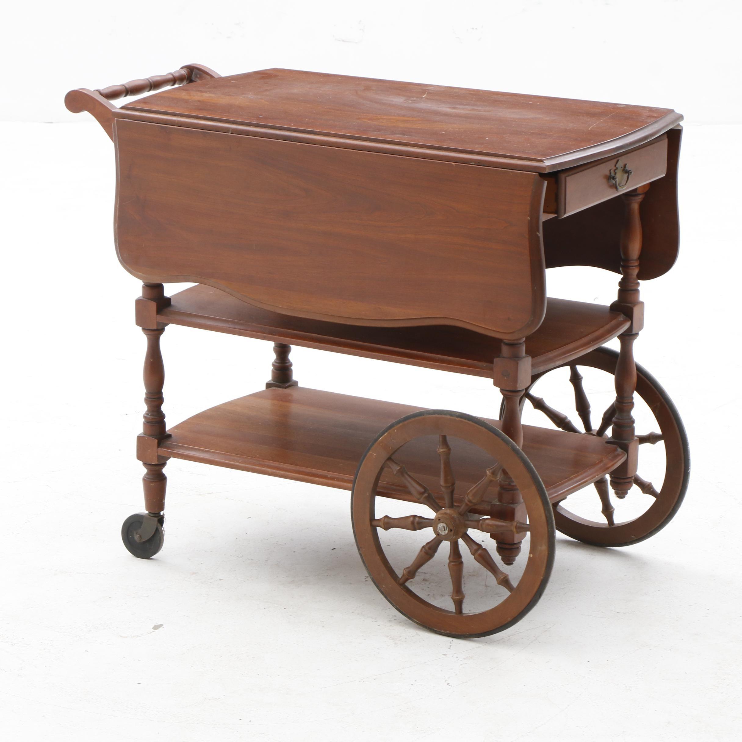 Drop Leaf Cherry Wood Serving Cart