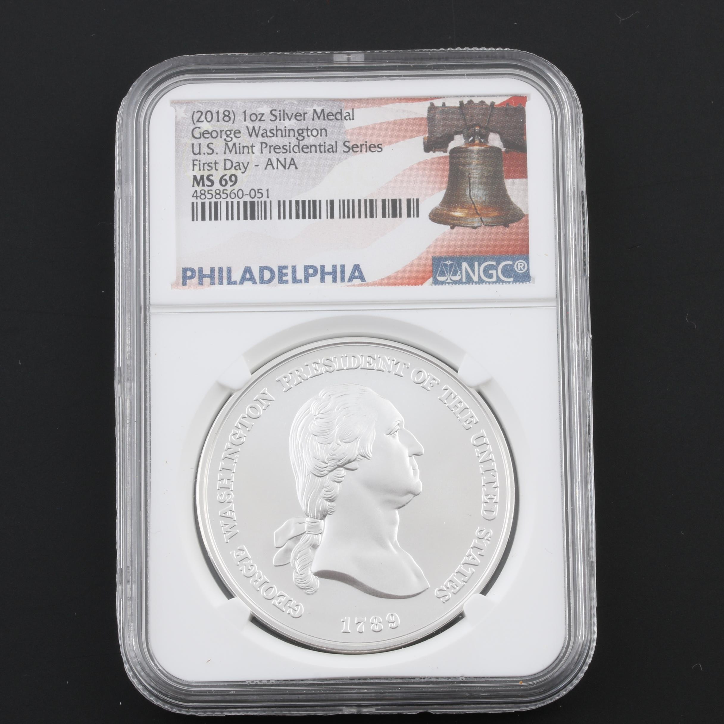NGC Encapsulated and Graded MS69 2018 George Washington Silver Medal