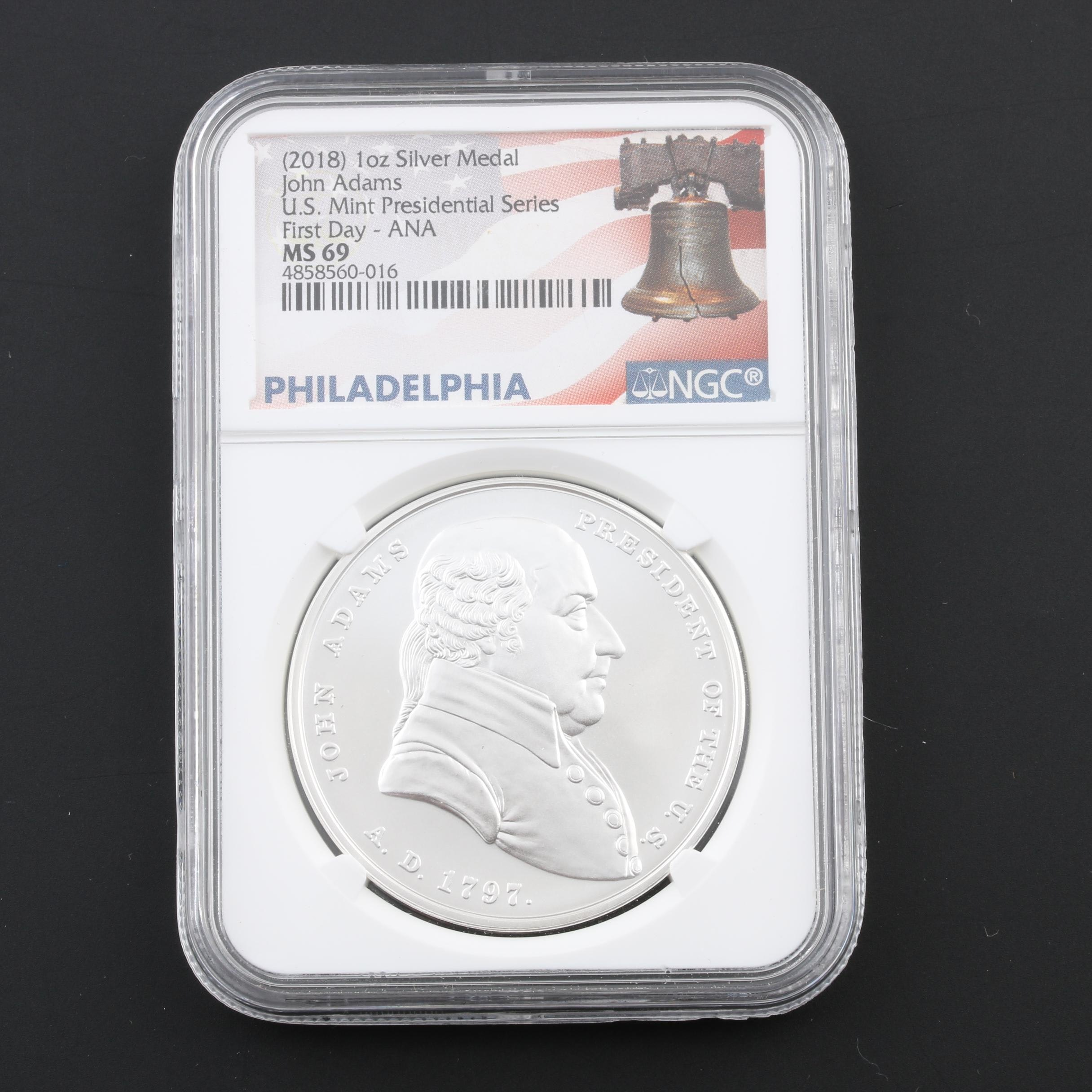NGC Graded MS69 2018 Presidential Series John Adams Silver Medal