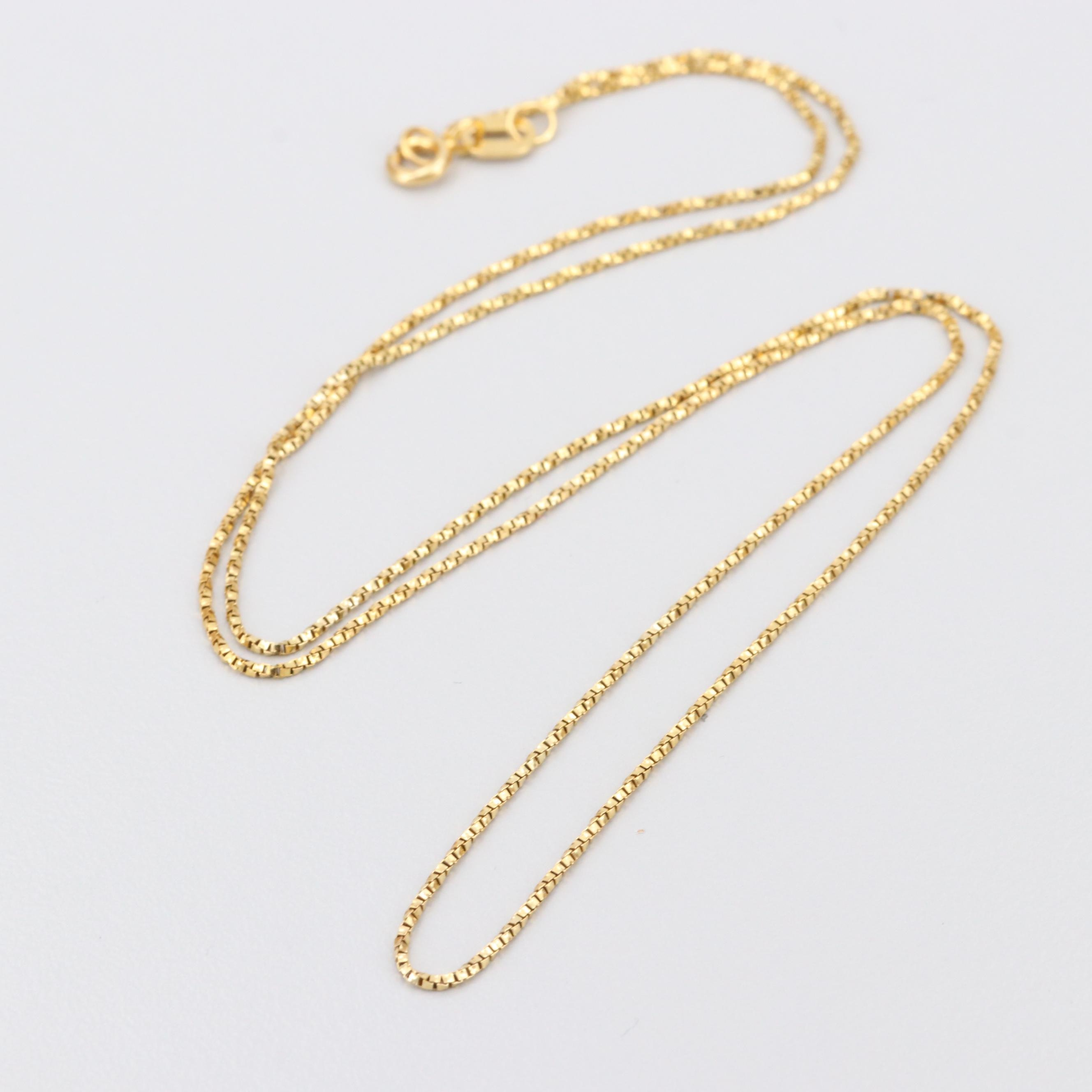 14K Yellow Gold Twisted Box Chain Link Necklace